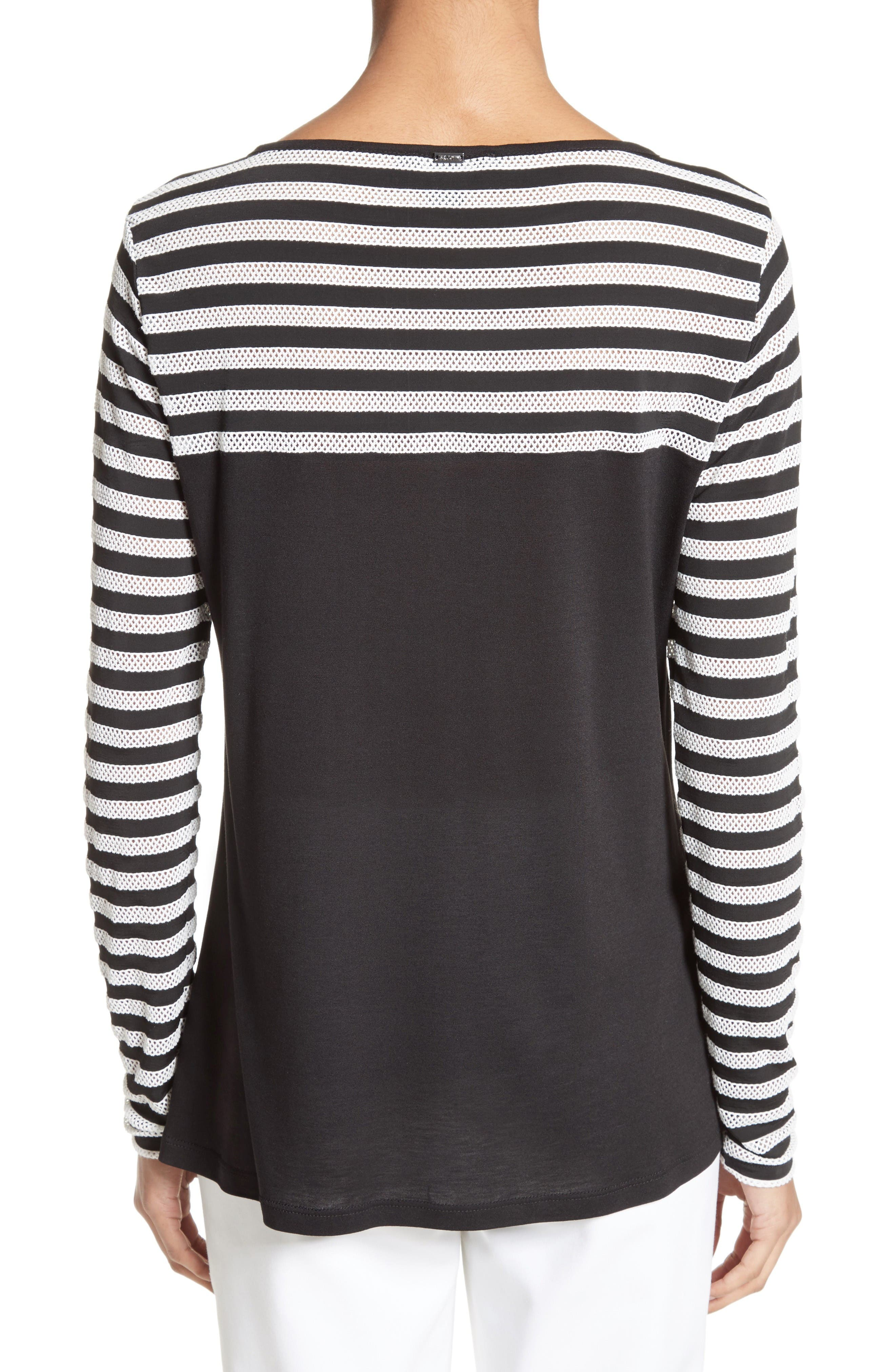 Alternate Image 2  - St. John Collection Stripe Mesh Inset Top