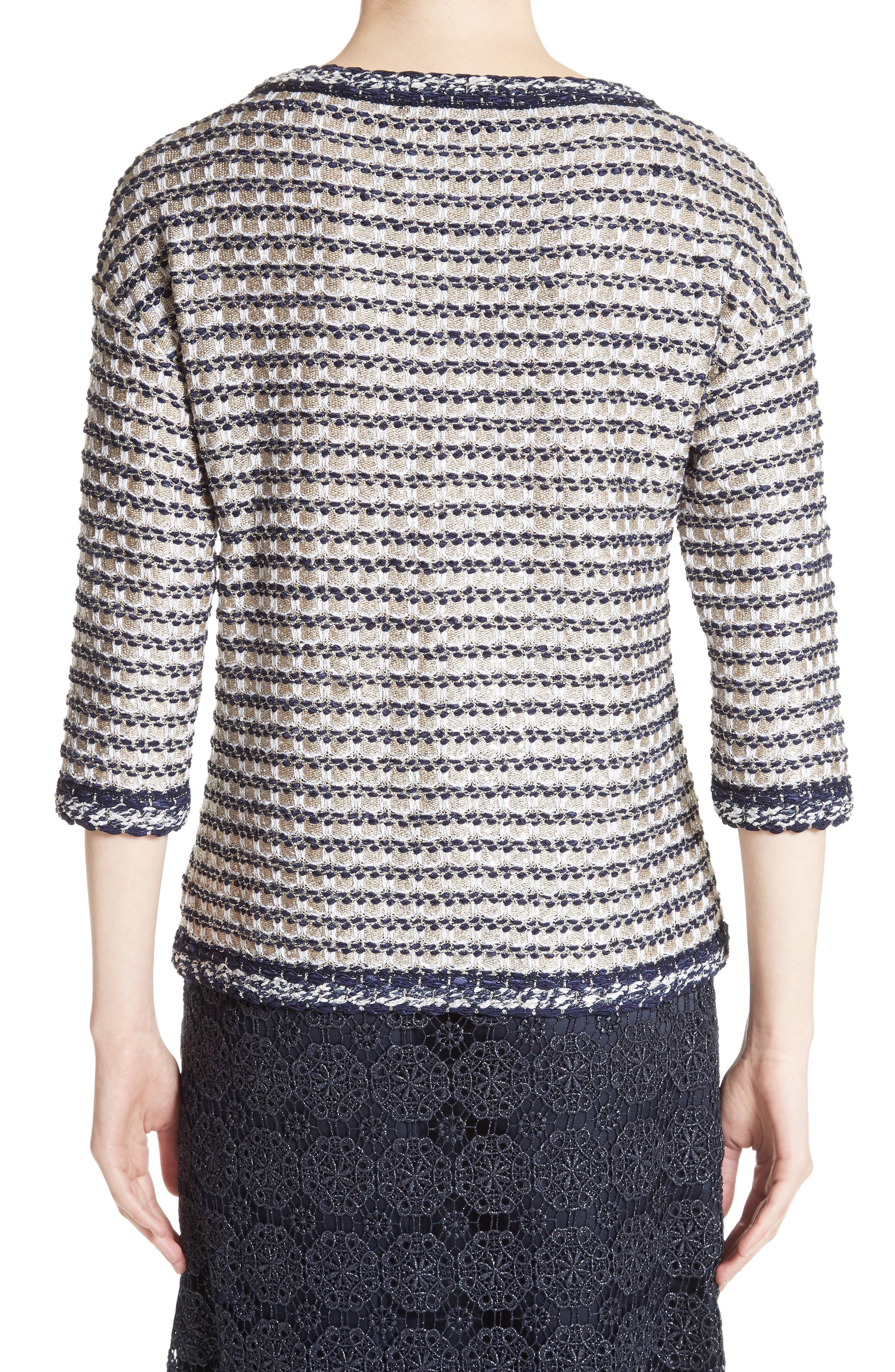 Vany Tweed Knit Top,                             Alternate thumbnail 2, color,                             Gold Multi