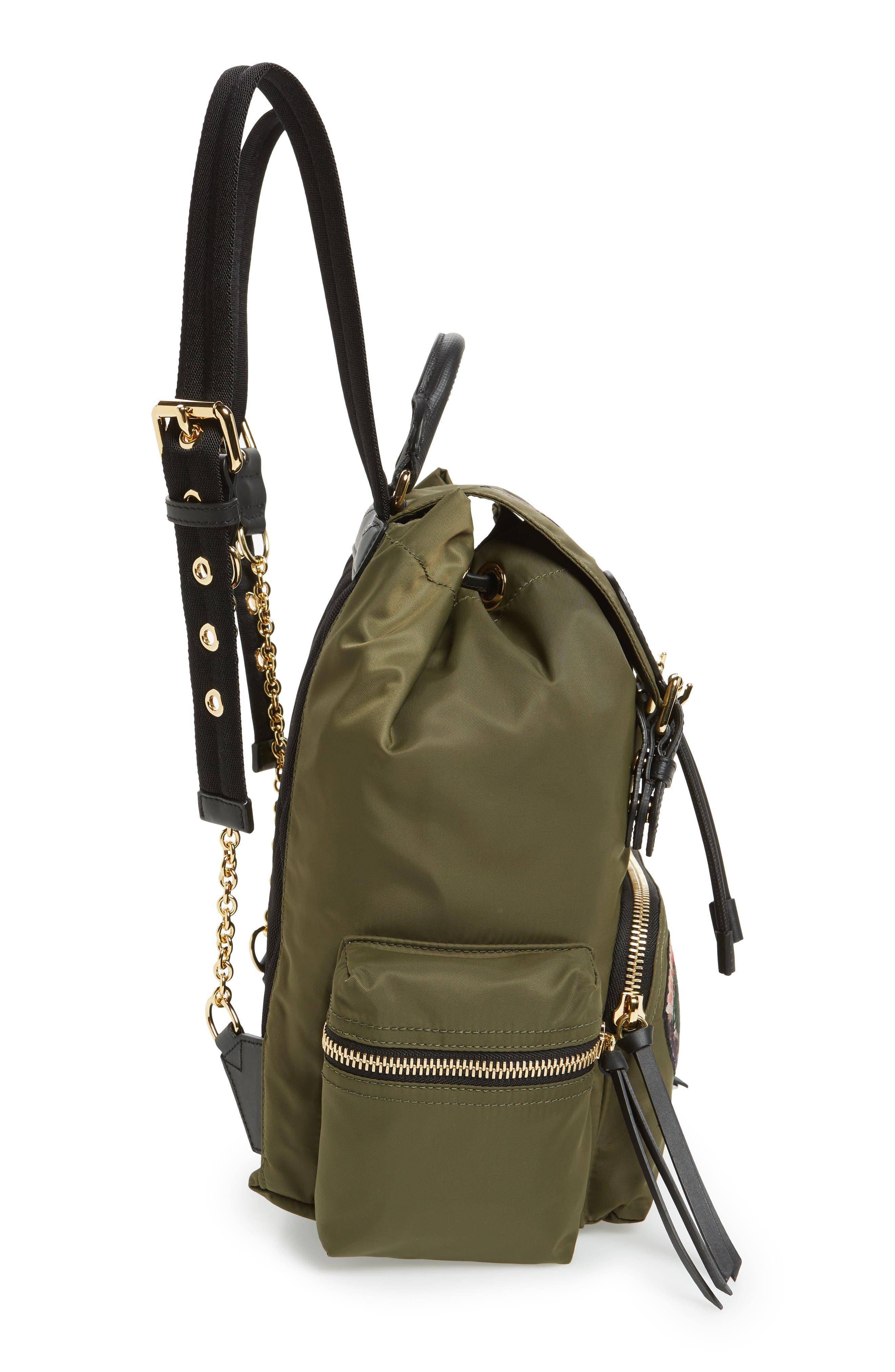 Medium Patches Rucksack Nylon Backpack,                             Alternate thumbnail 4, color,                             Canvas Green