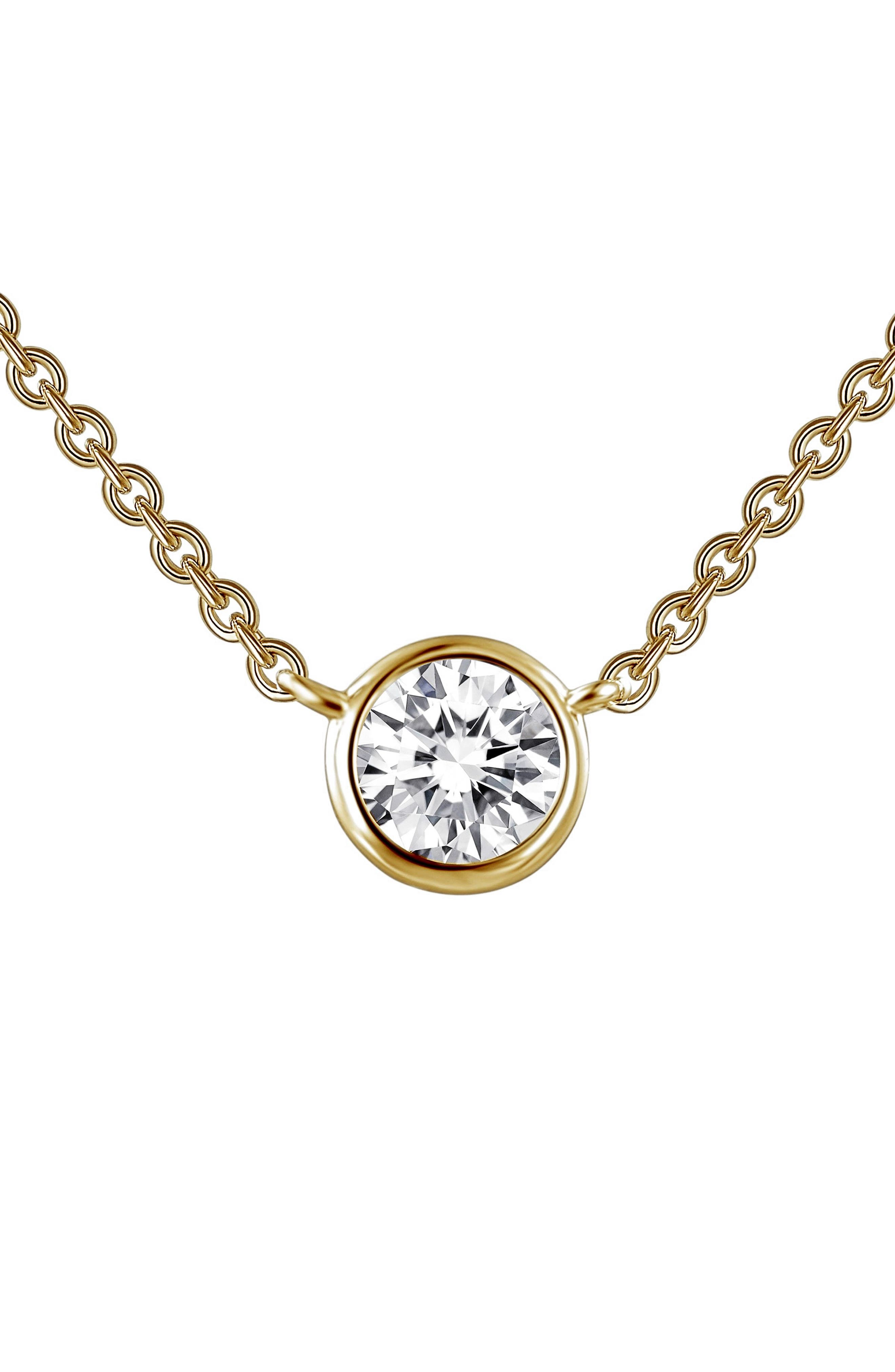 Simulated Diamond Pendant Necklace,                         Main,                         color, Gold
