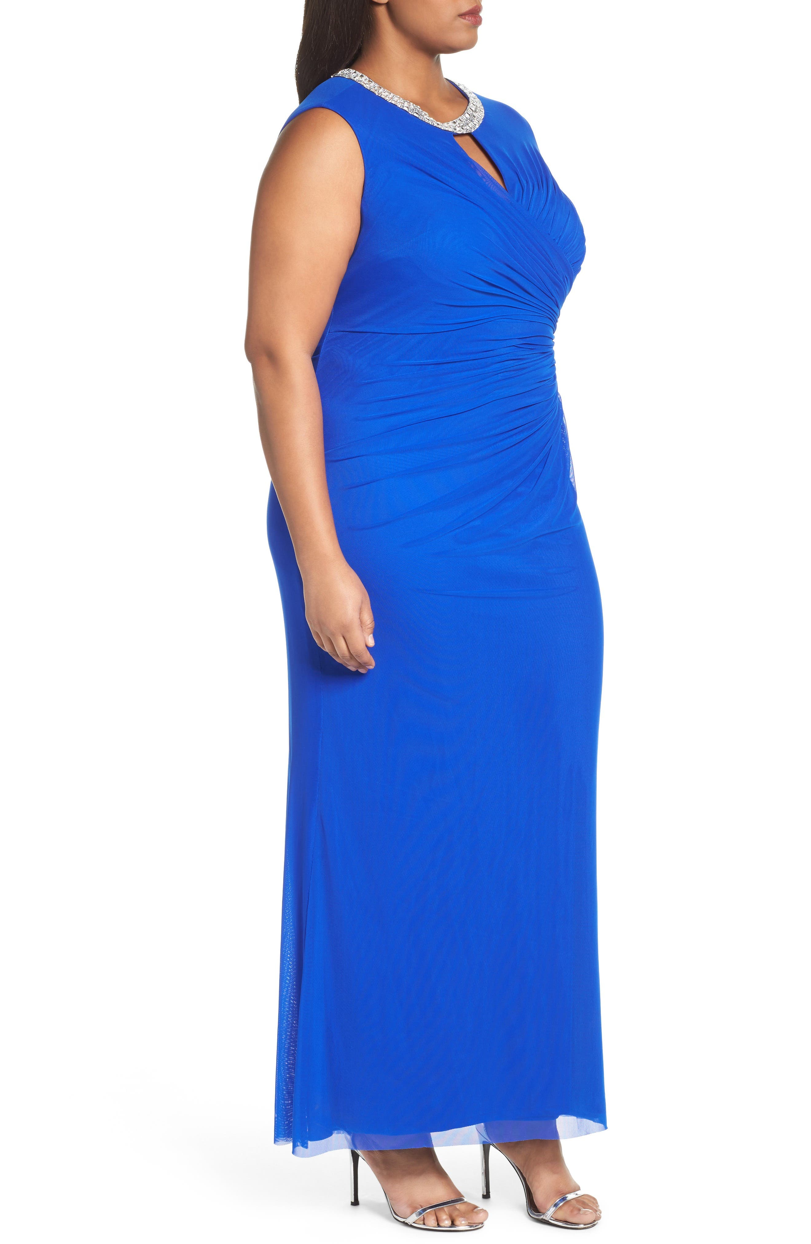 Embellished Faux Wrap Gown,                             Alternate thumbnail 3, color,                             Royal
