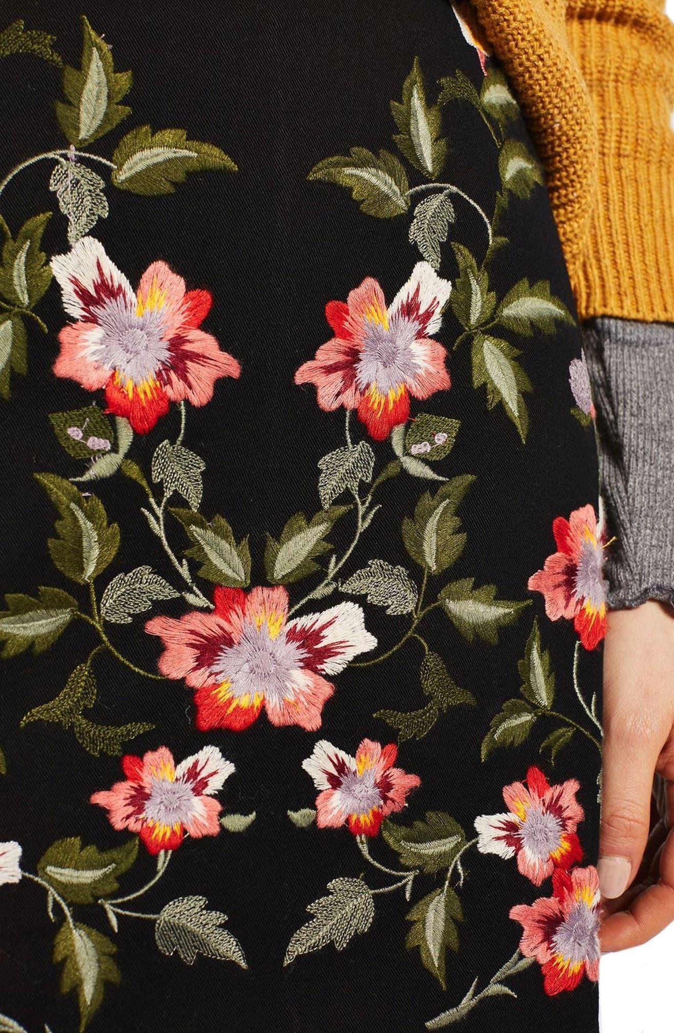 Alternate Image 5  - Topshop Ivy Flower Embroidered Skirt