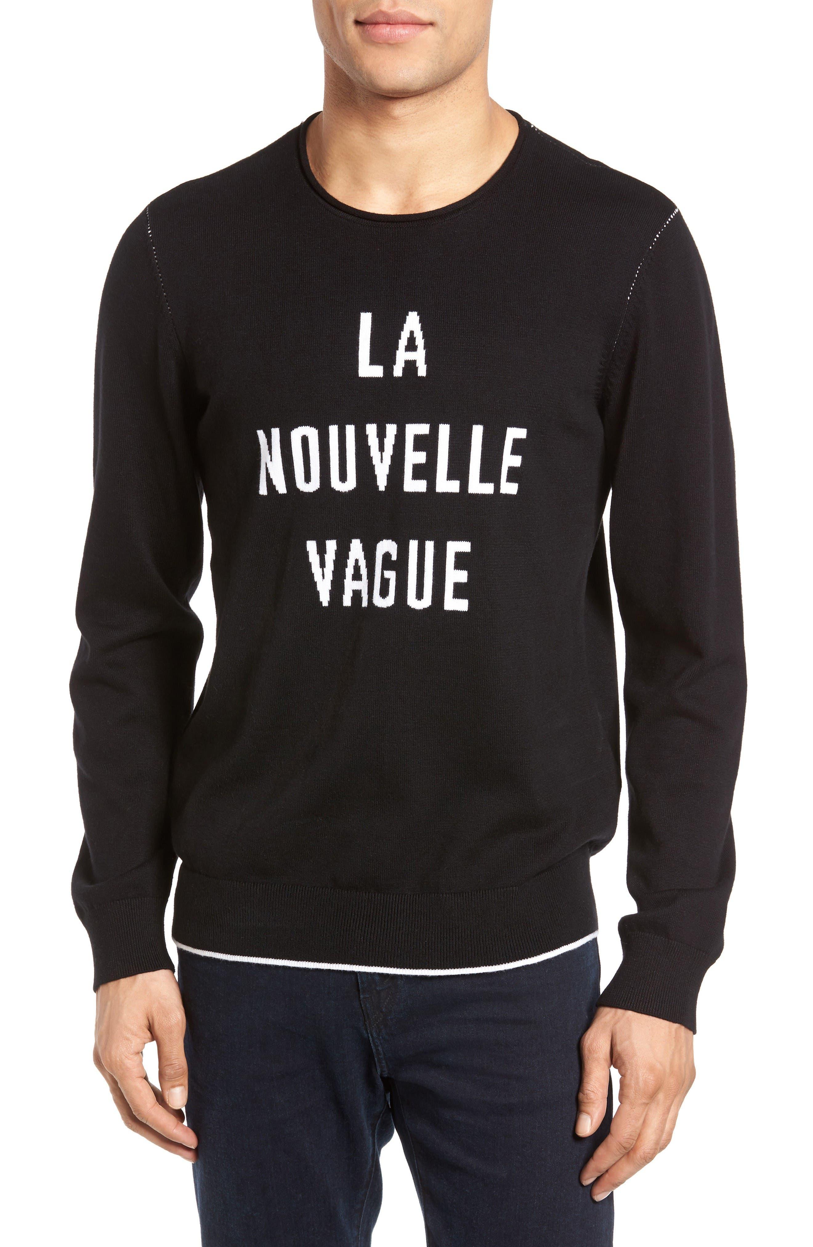Cedric Cotton & Cashmere Sweater,                             Main thumbnail 1, color,                             La Nouvelle Vague True Black