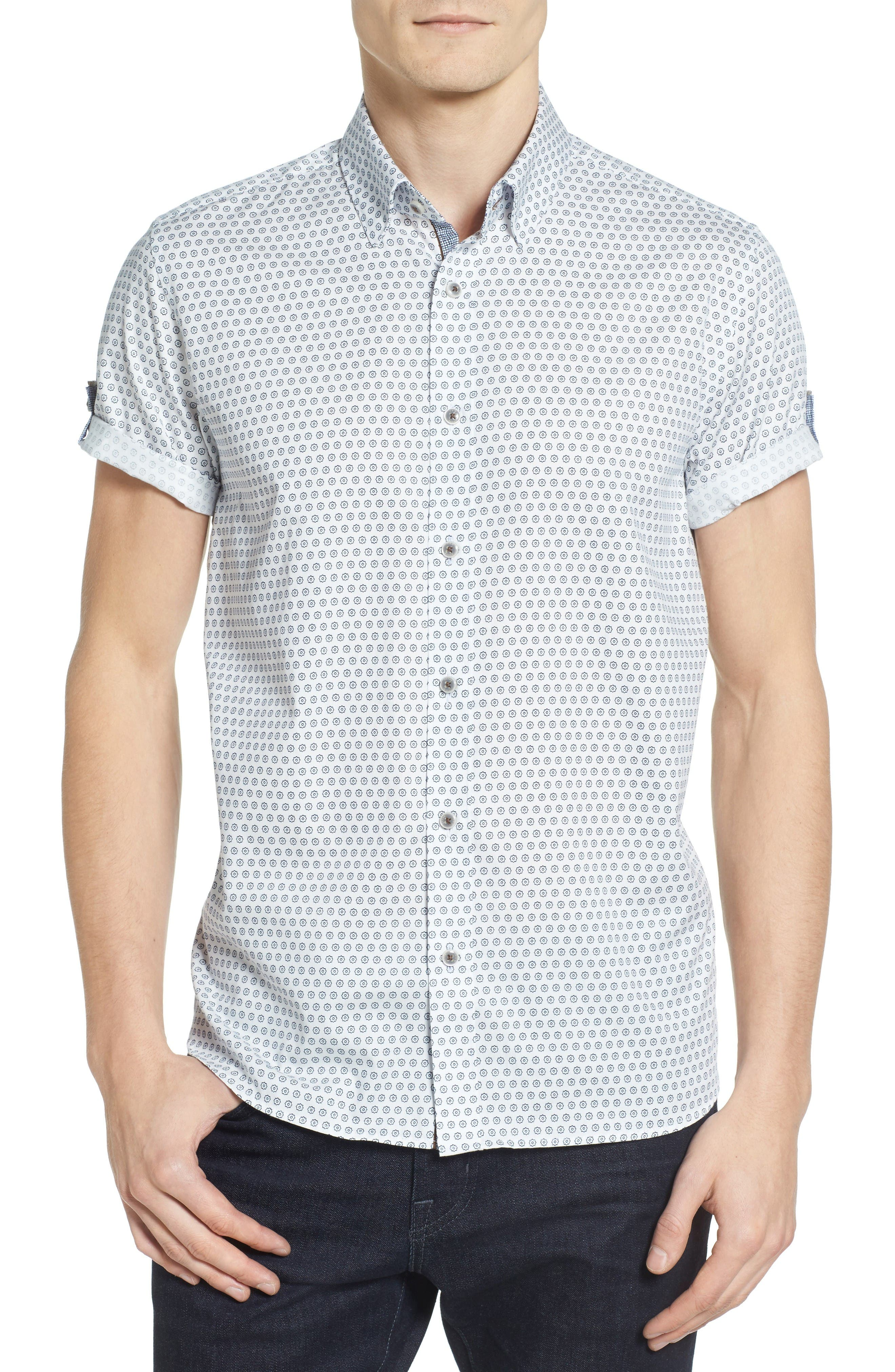 Braaks Extra Slim Fit Flower Print Sport Shirt,                         Main,                         color, White