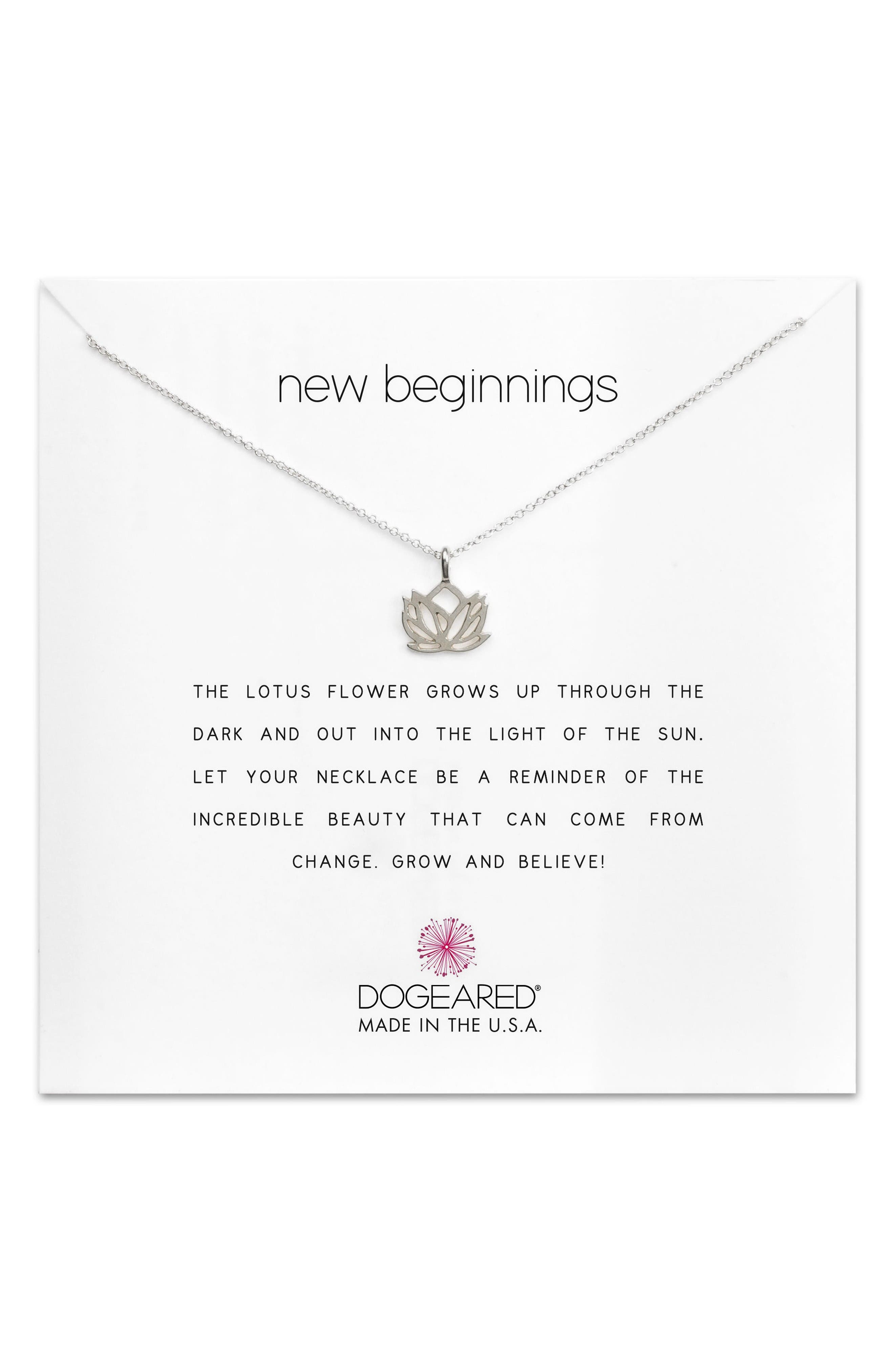 Lotus Reminder Pendant Necklace,                         Main,                         color, Silver