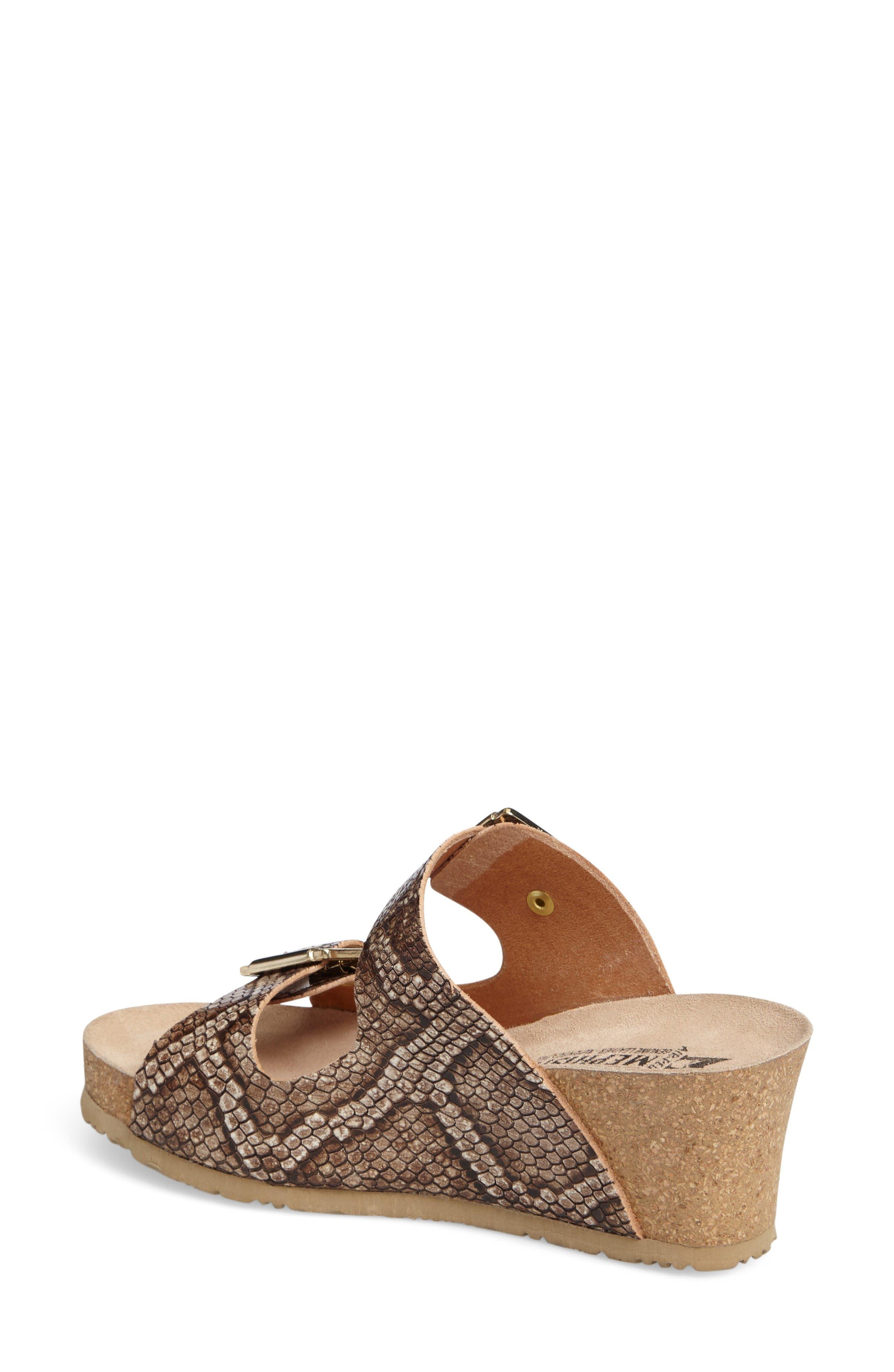 Lenia Wedge Sandal,                             Alternate thumbnail 2, color,                             Brown Leather
