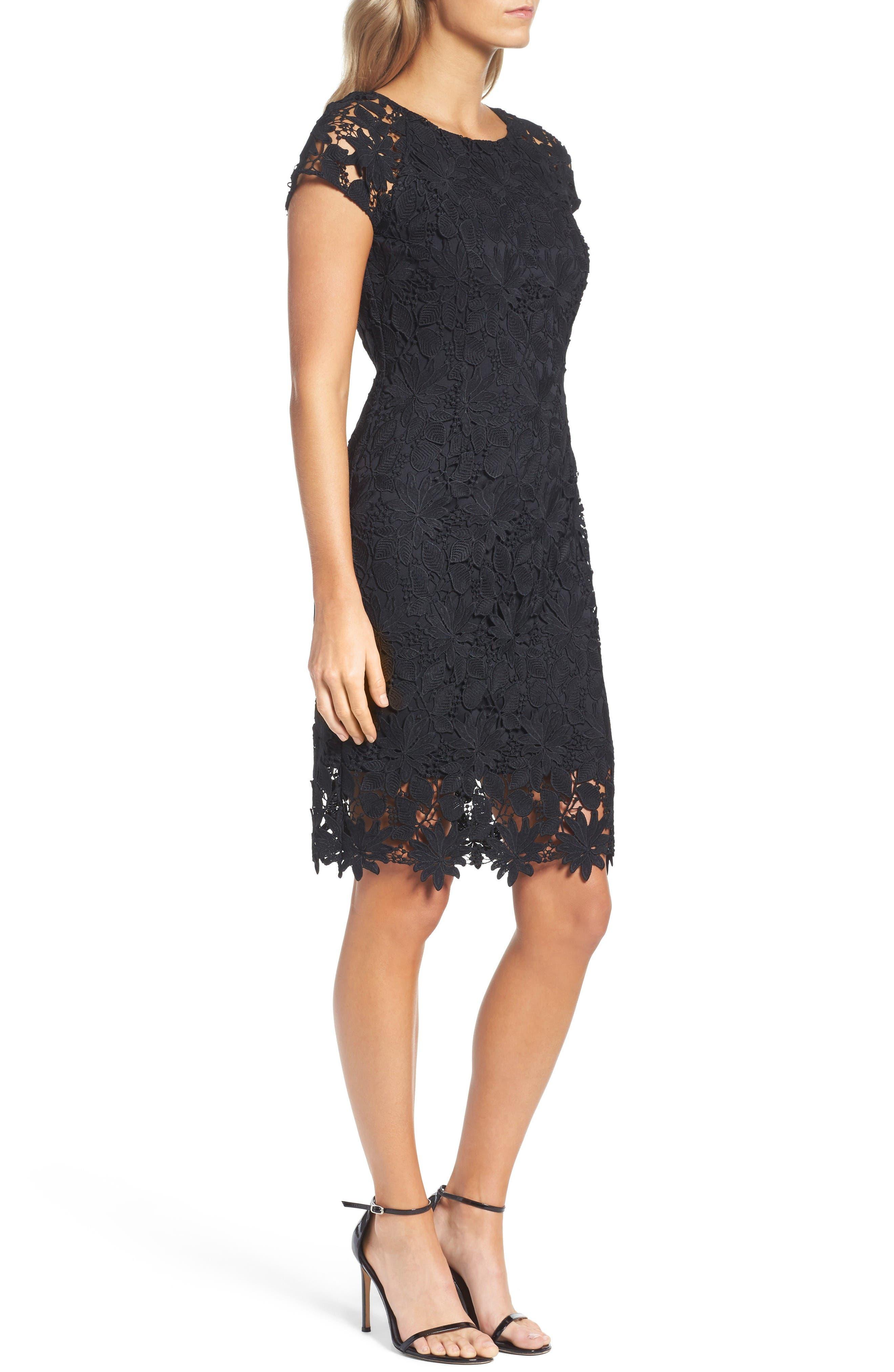 Lace Dress,                             Alternate thumbnail 3, color,                             Black