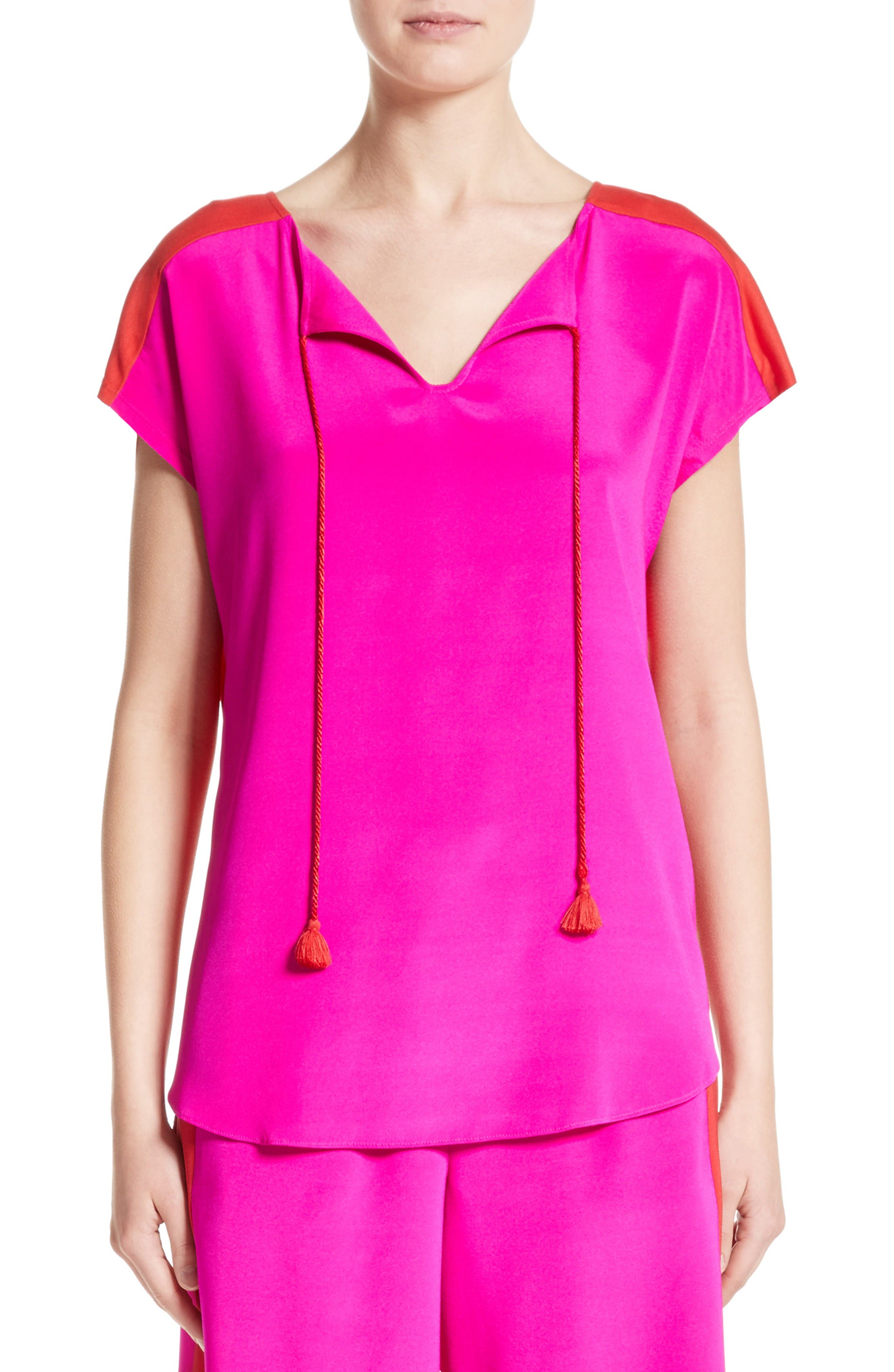 Stretch Silk & Jersey Tassel Blouse,                         Main,                         color, Zinnia/ Tikka Red