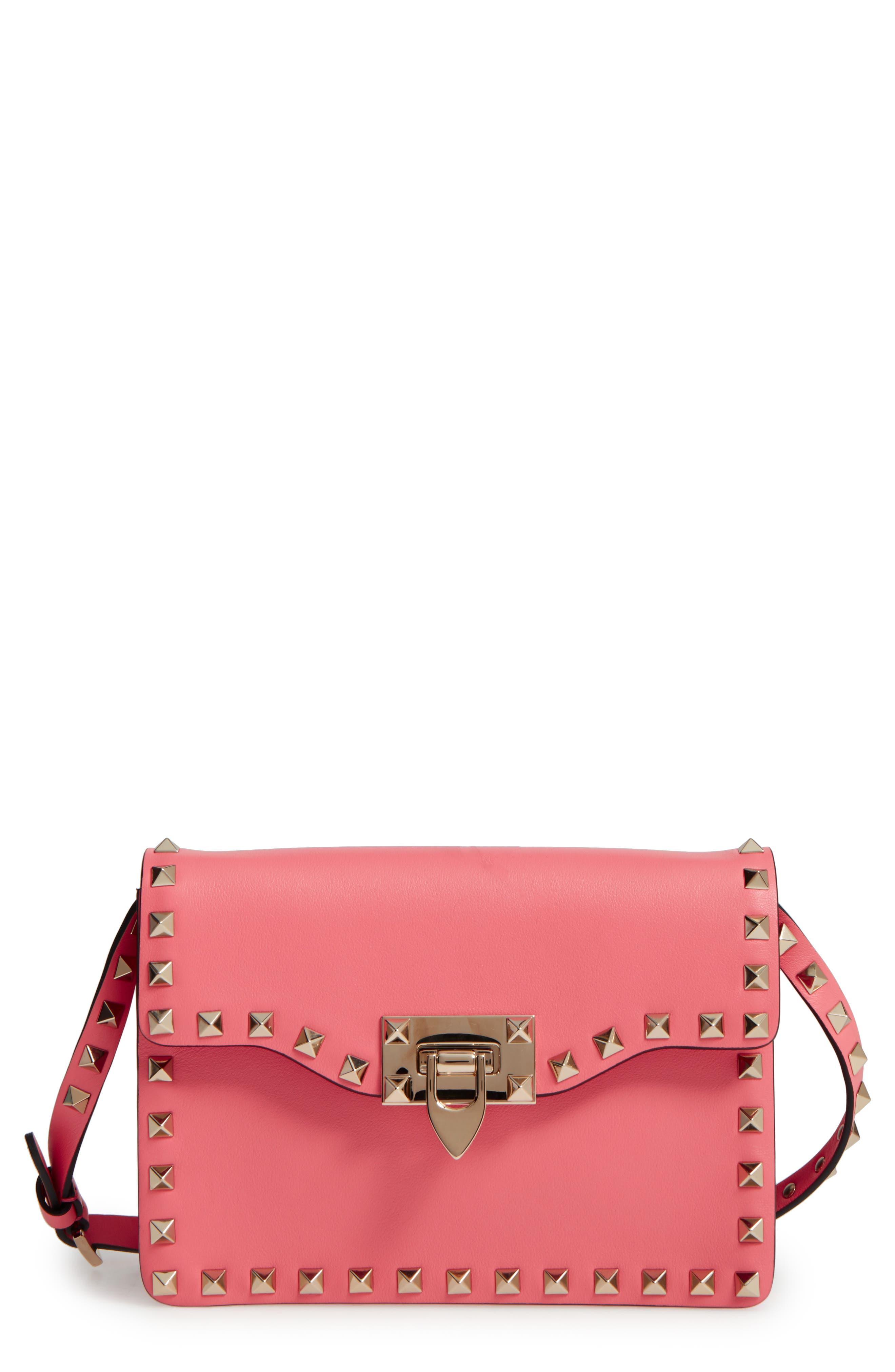 Rockstud Leather Crossbody Bag,                         Main,                         color, Antique Rose