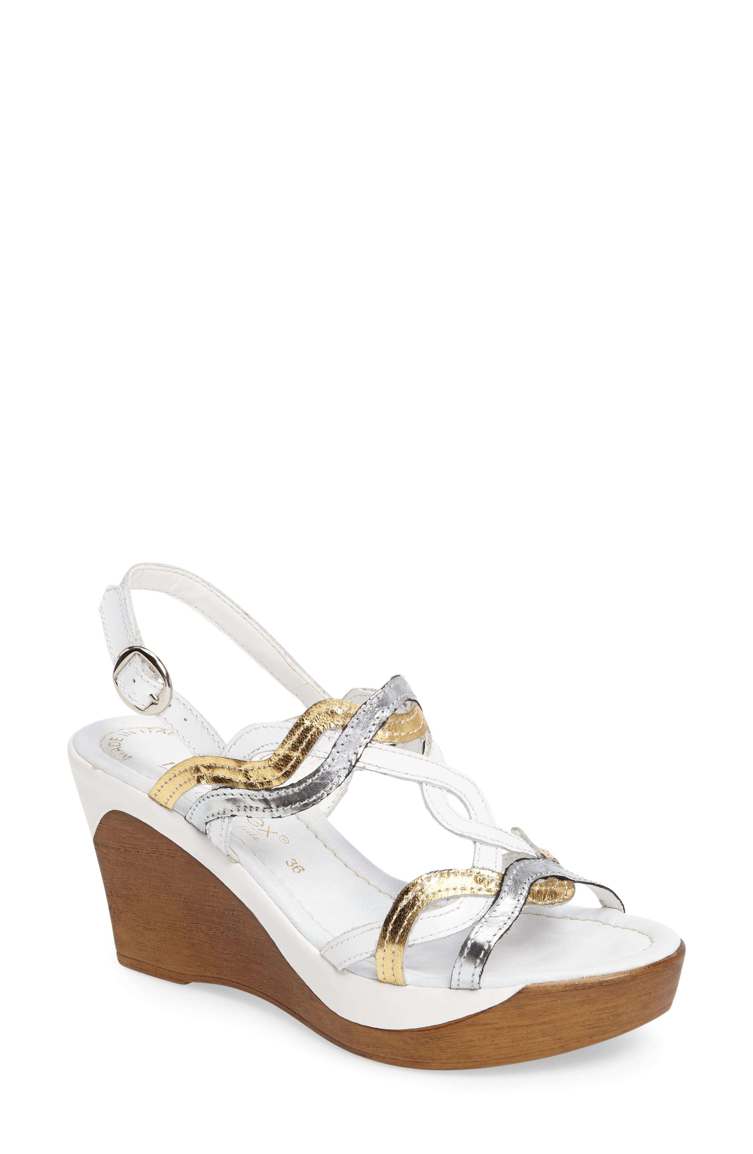 Alto Wedge Sandal,                             Main thumbnail 1, color,                             White Leather