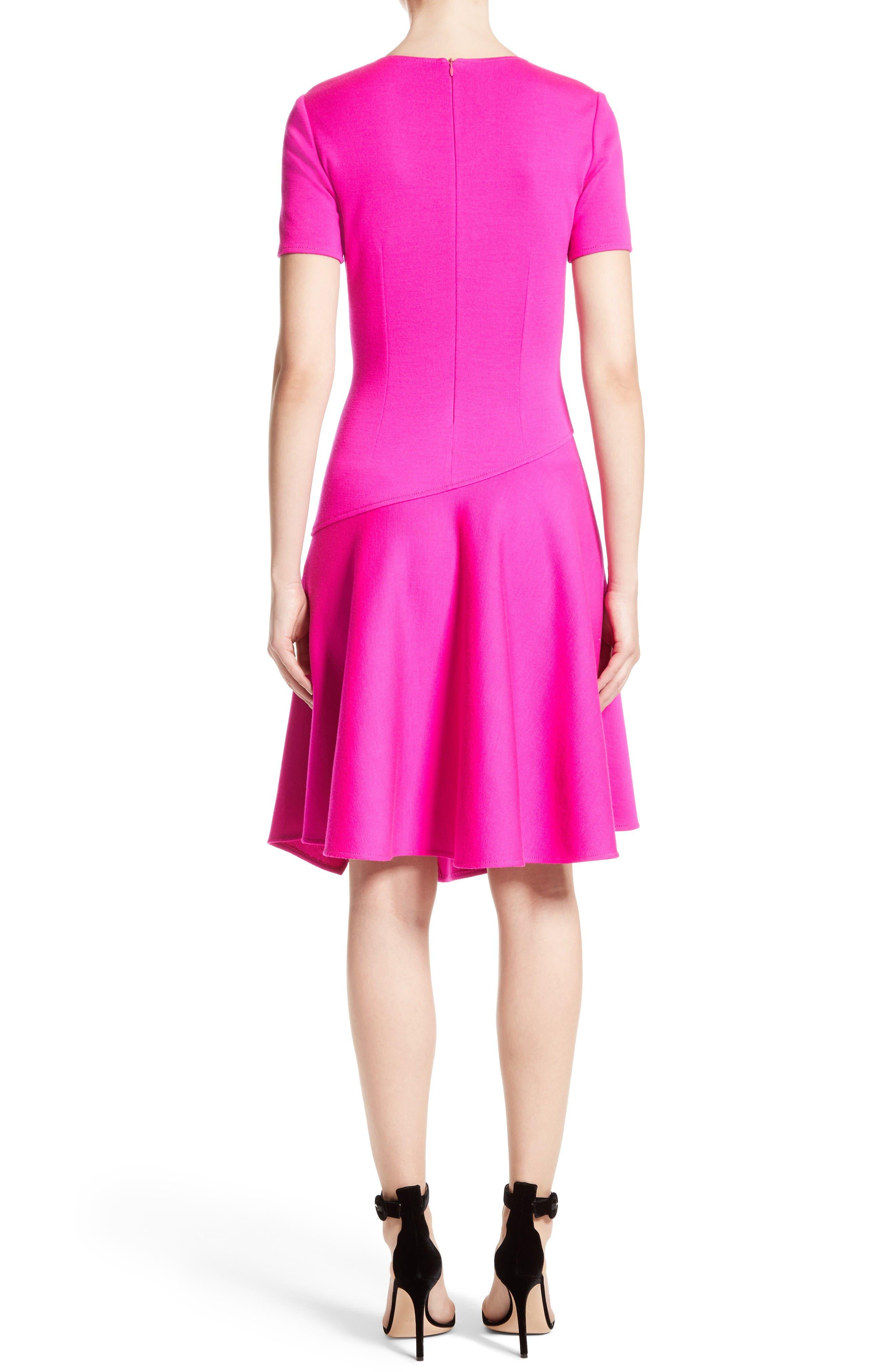 Milano Knit Asymmetrical Dress,                             Alternate thumbnail 2, color,                             Zinnia