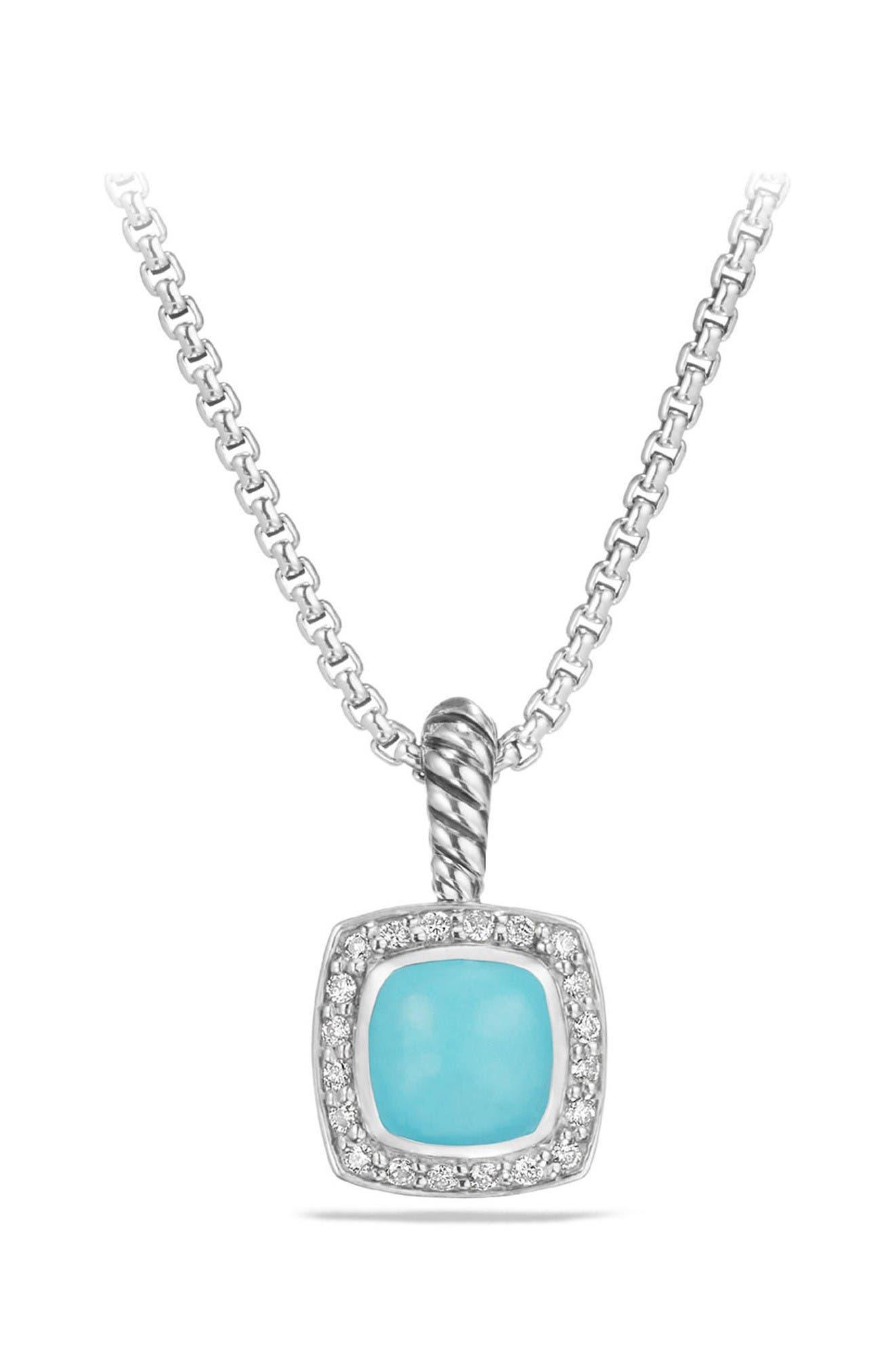 Petite Albion<sup>®</sup> Pendant Necklace with Diamonds,                             Main thumbnail 1, color,                             Silver/ Turquoise