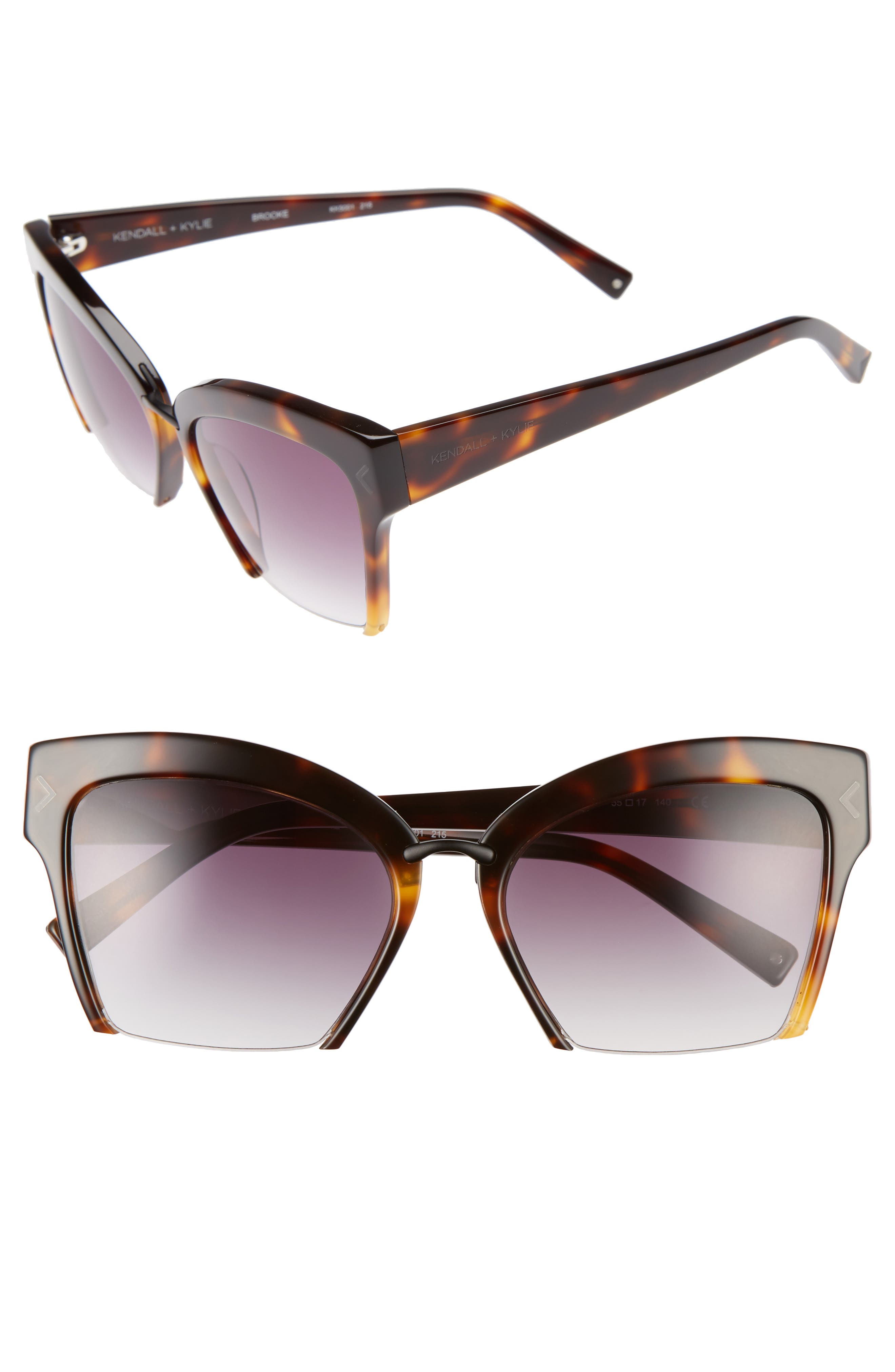 KENDALL + KYLIE Brooke 55mm Semi Rimless Butterfly Sunglasses