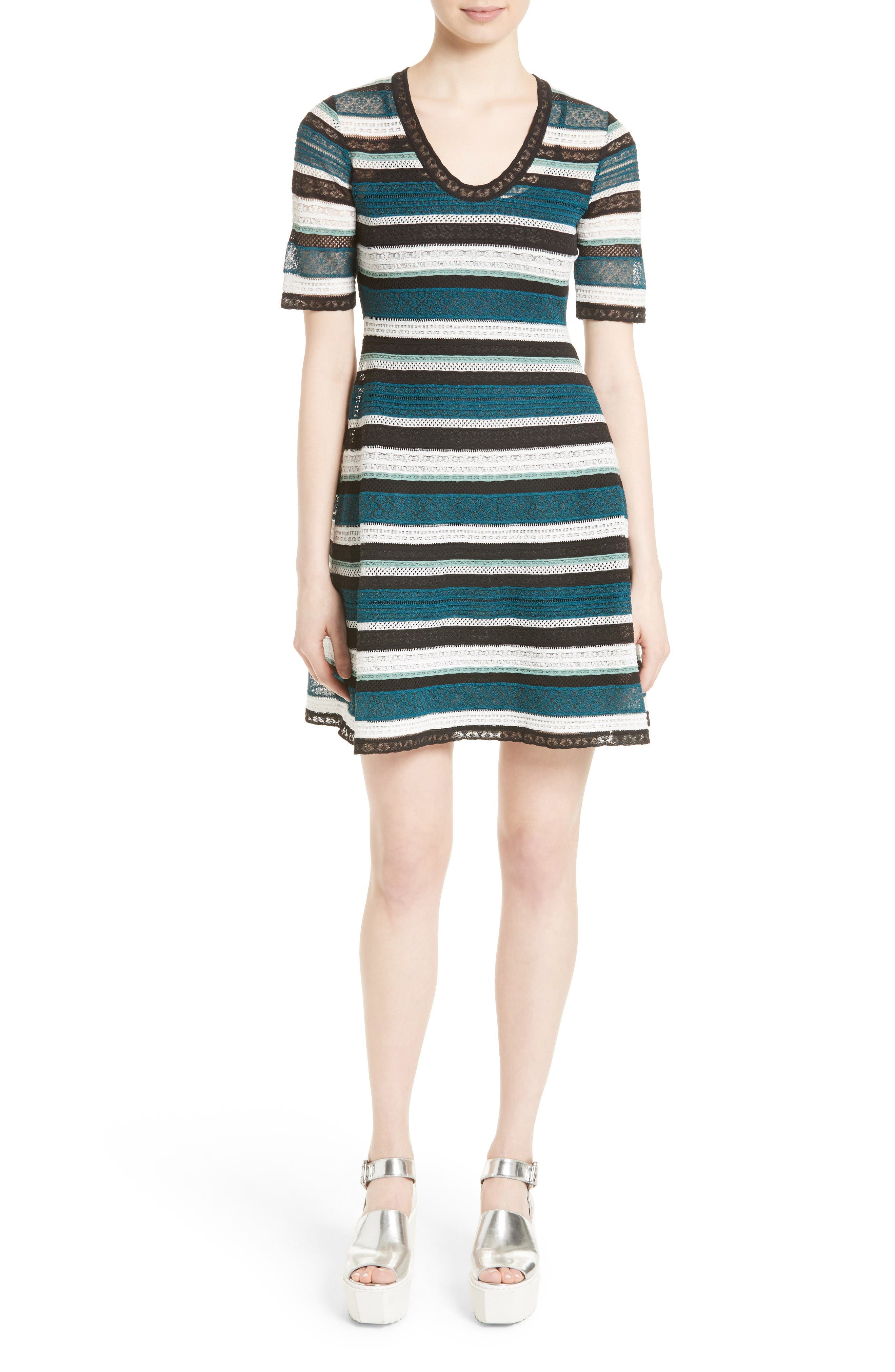 M Missoni Lace Stripe T-Shirt Dress