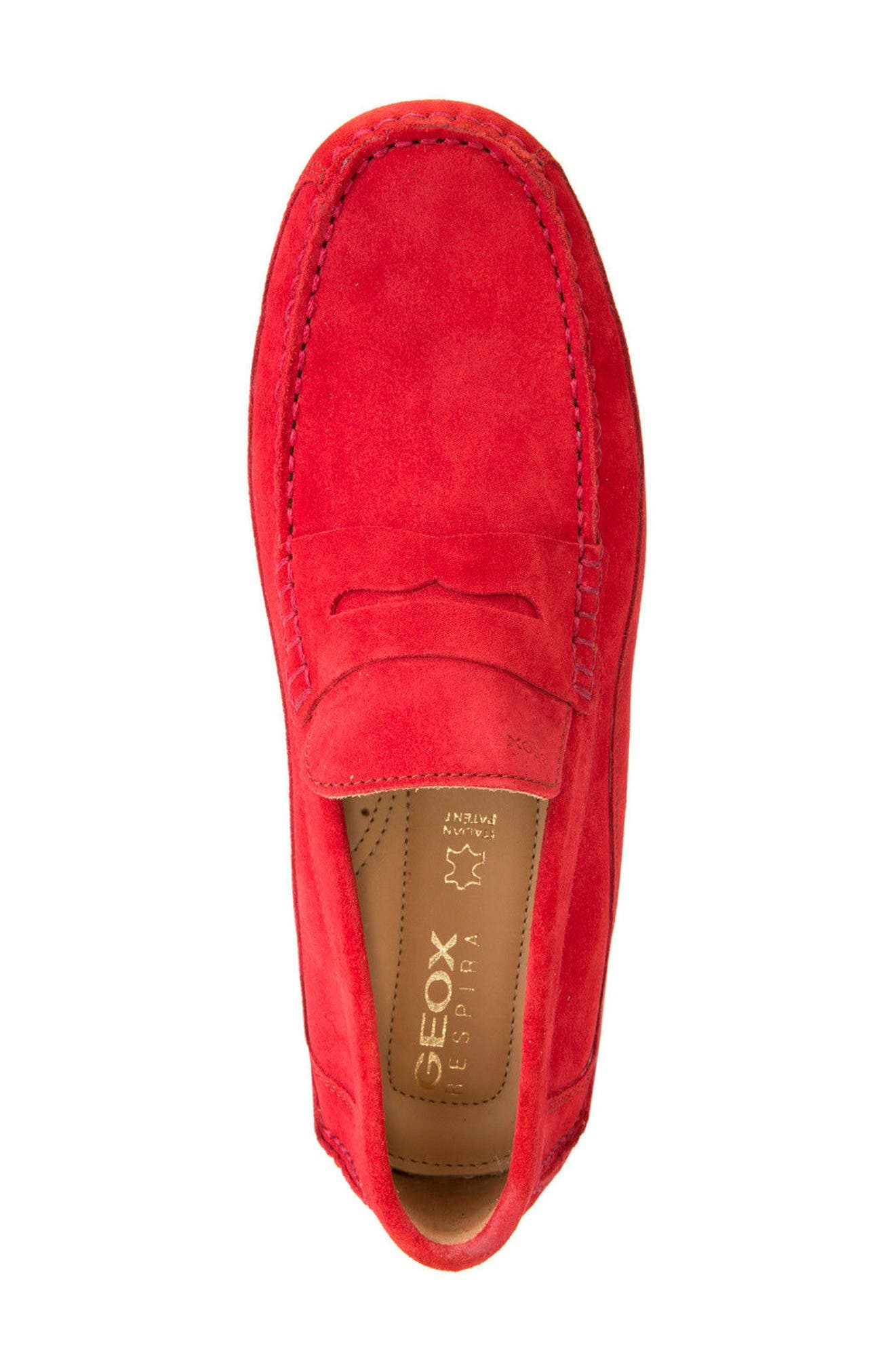 Melbourne 1 Driving Shoe,                             Alternate thumbnail 3, color,                             Red Suede