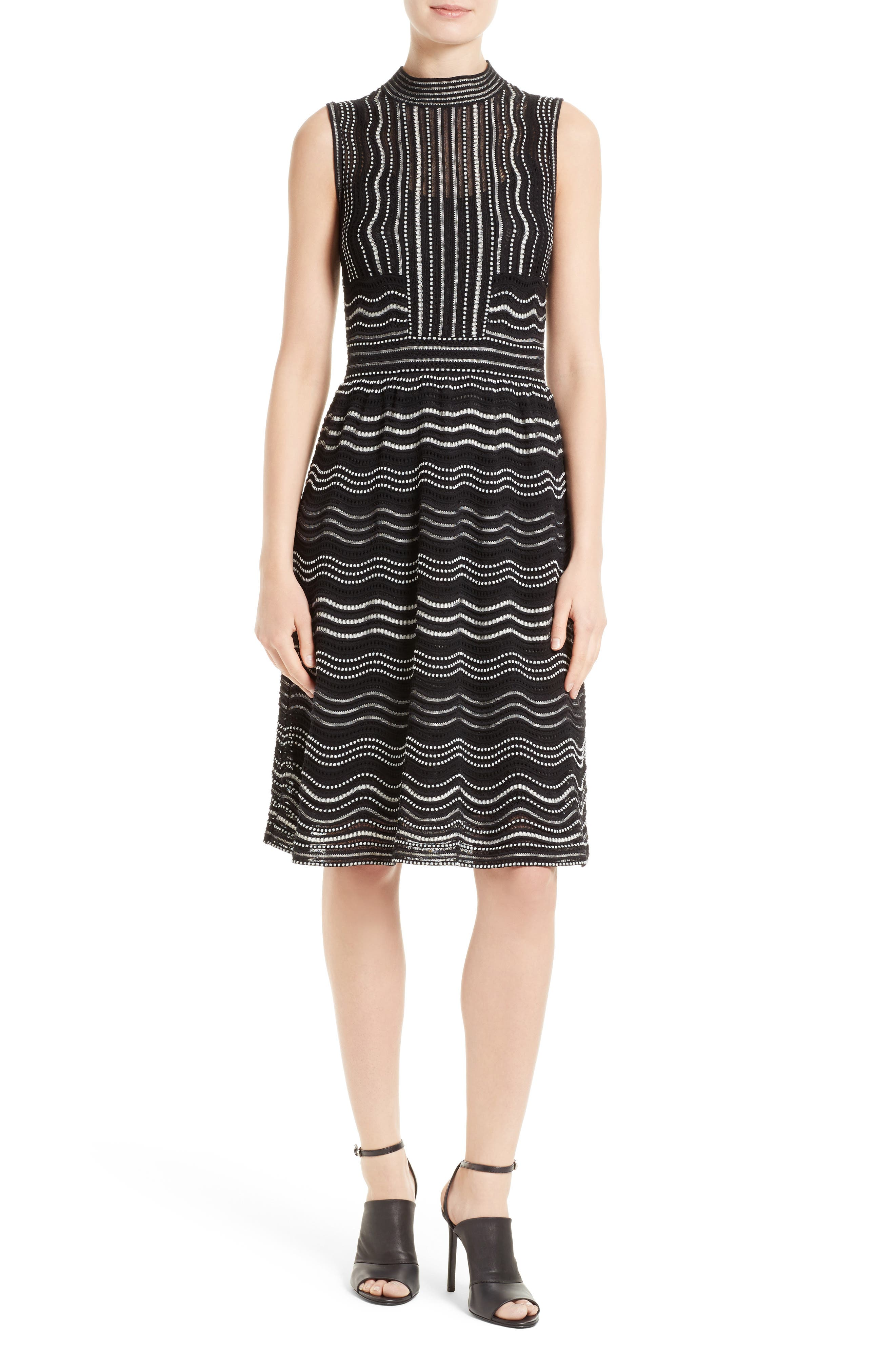 Ripple Dot Fit & Flare Dress,                         Main,                         color, Black