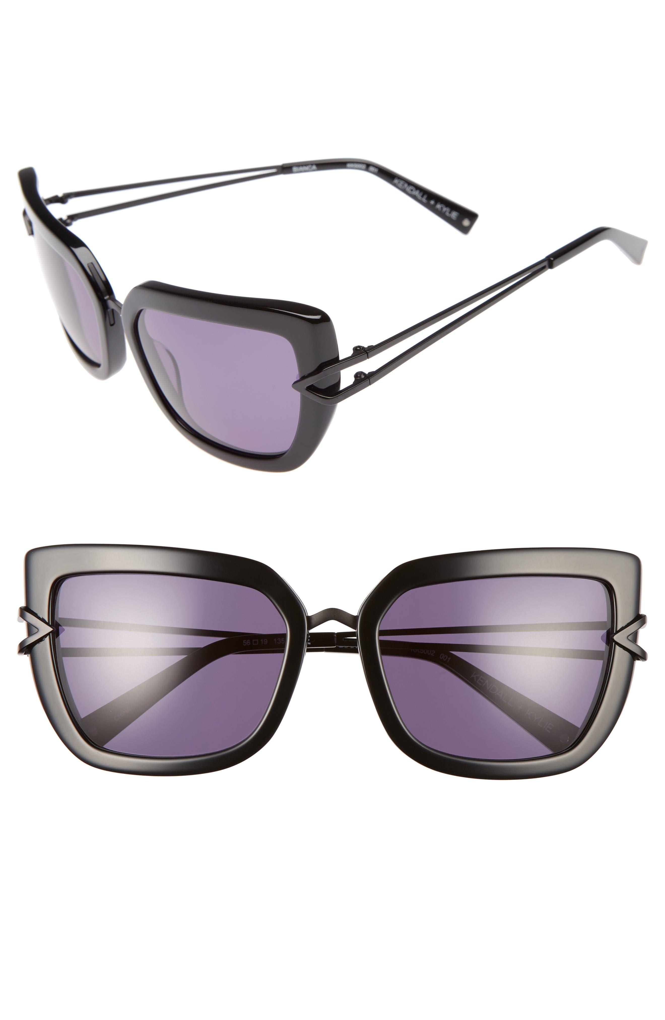 Bianca 56mm Cat Eye Sunglasses,                             Main thumbnail 1, color,                             Shiny Black/ Matte Satin Black
