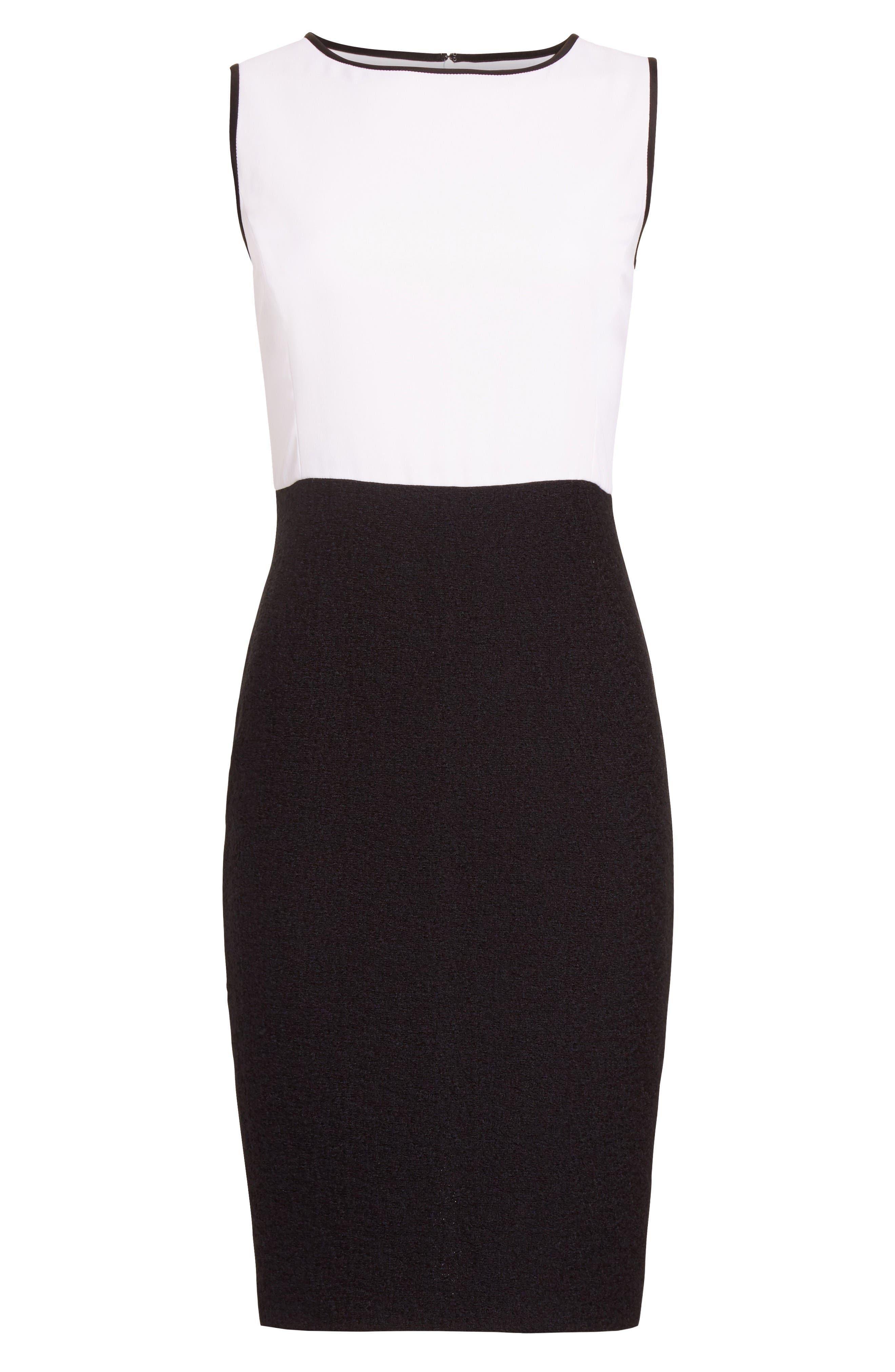 Cady Bodice Clair Knit Dress,                             Alternate thumbnail 7, color,                             Bianco/ Caviar
