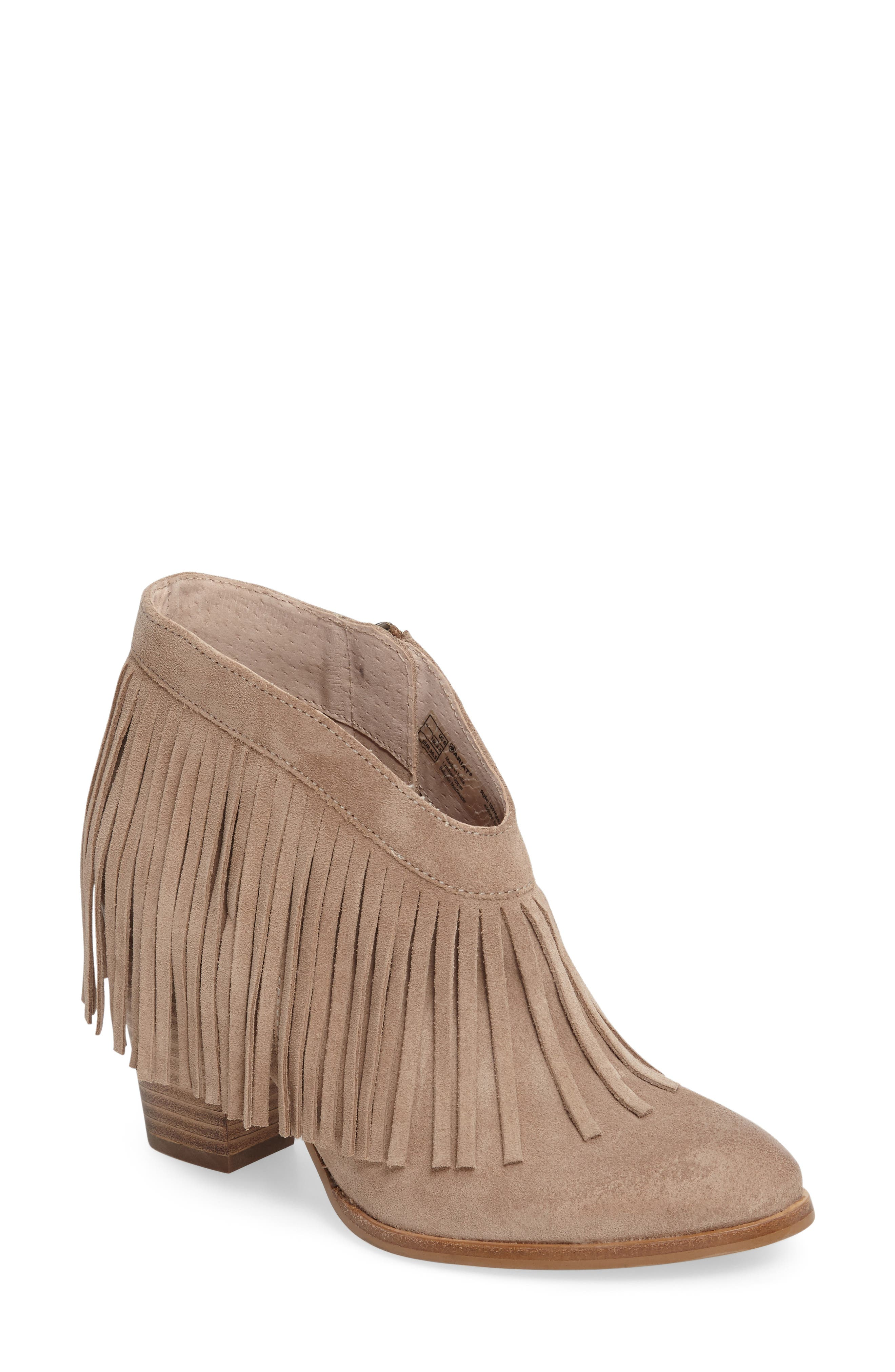 Unbridled Layla Fringed Bootie,                         Main,                         color, Sand Suede