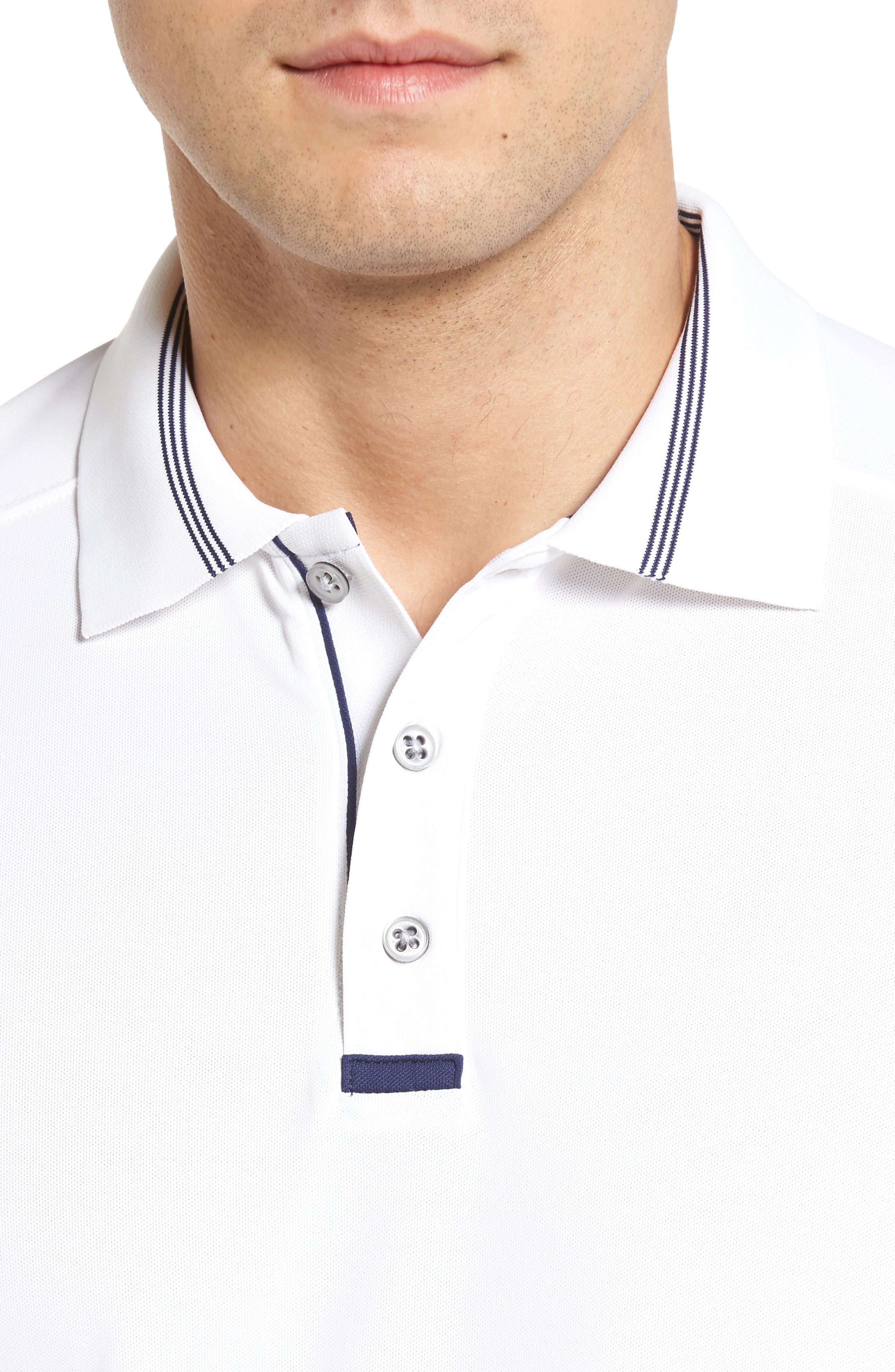 Tech Piqué Golf Polo,                             Alternate thumbnail 4, color,                             White