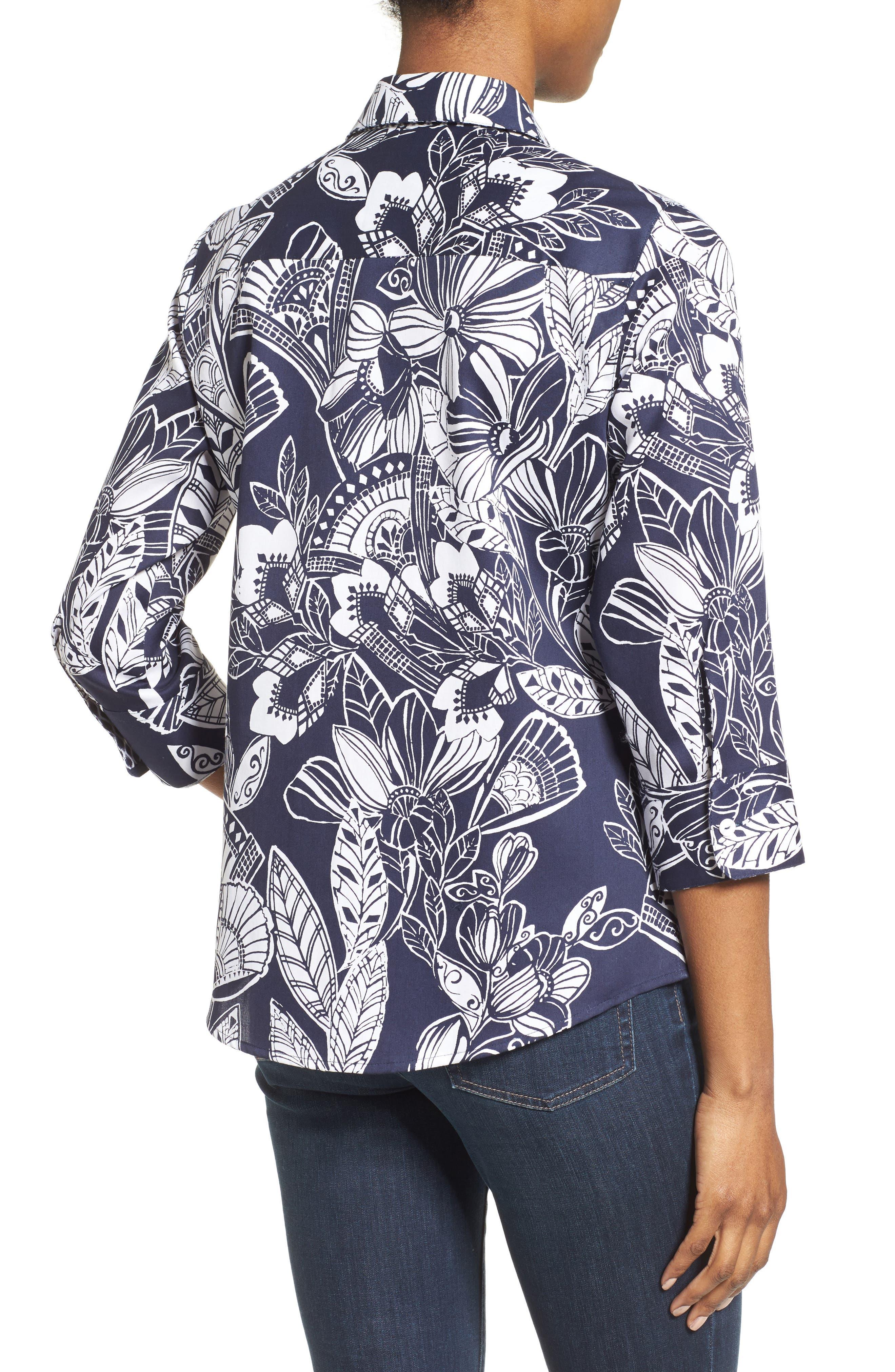 Alternate Image 2  - Foxcroft Floral Print Shirt (Regular & Petite)