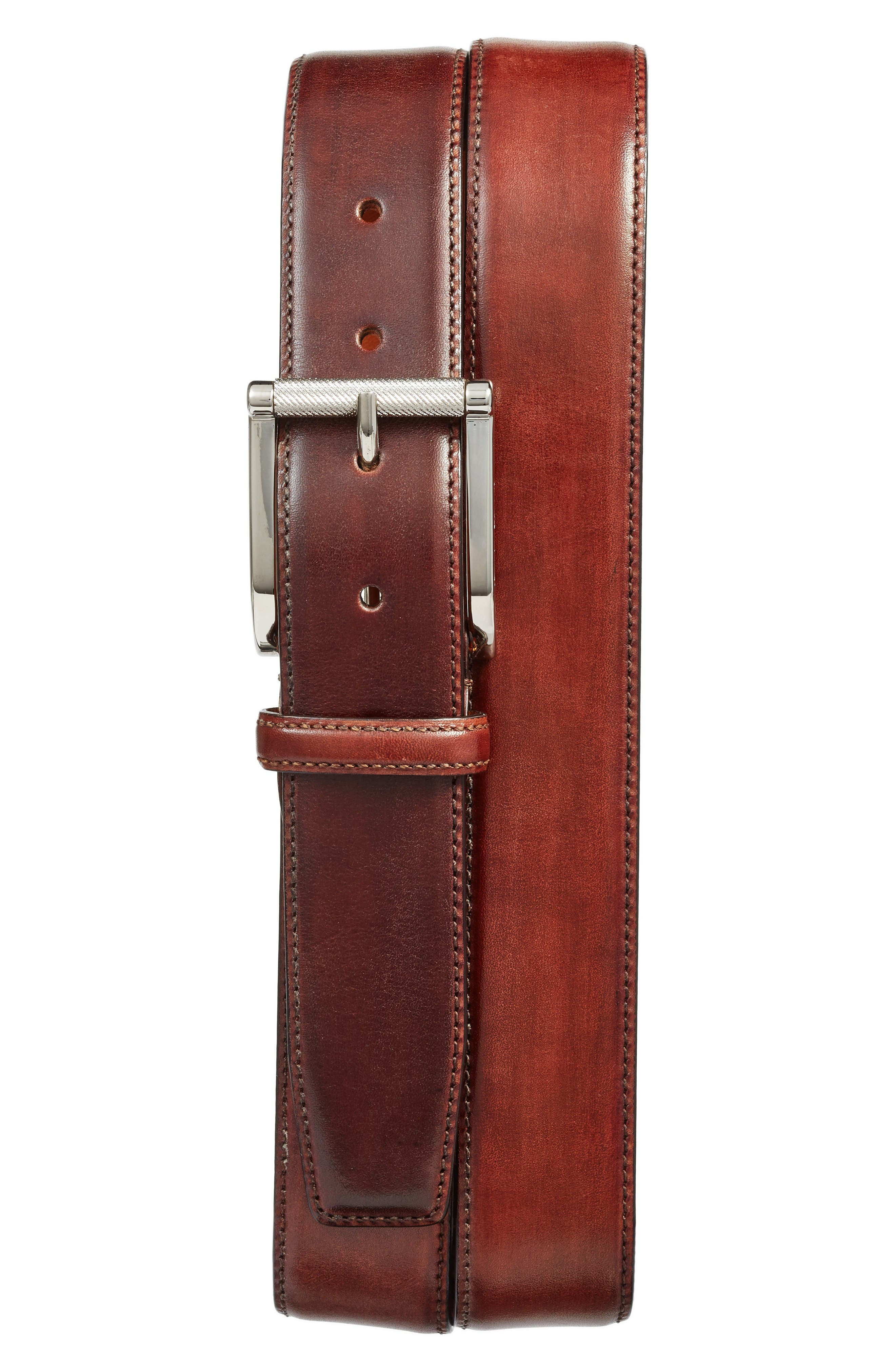 Hand Antiqued Leather Belt,                             Main thumbnail 1, color,                             Brown
