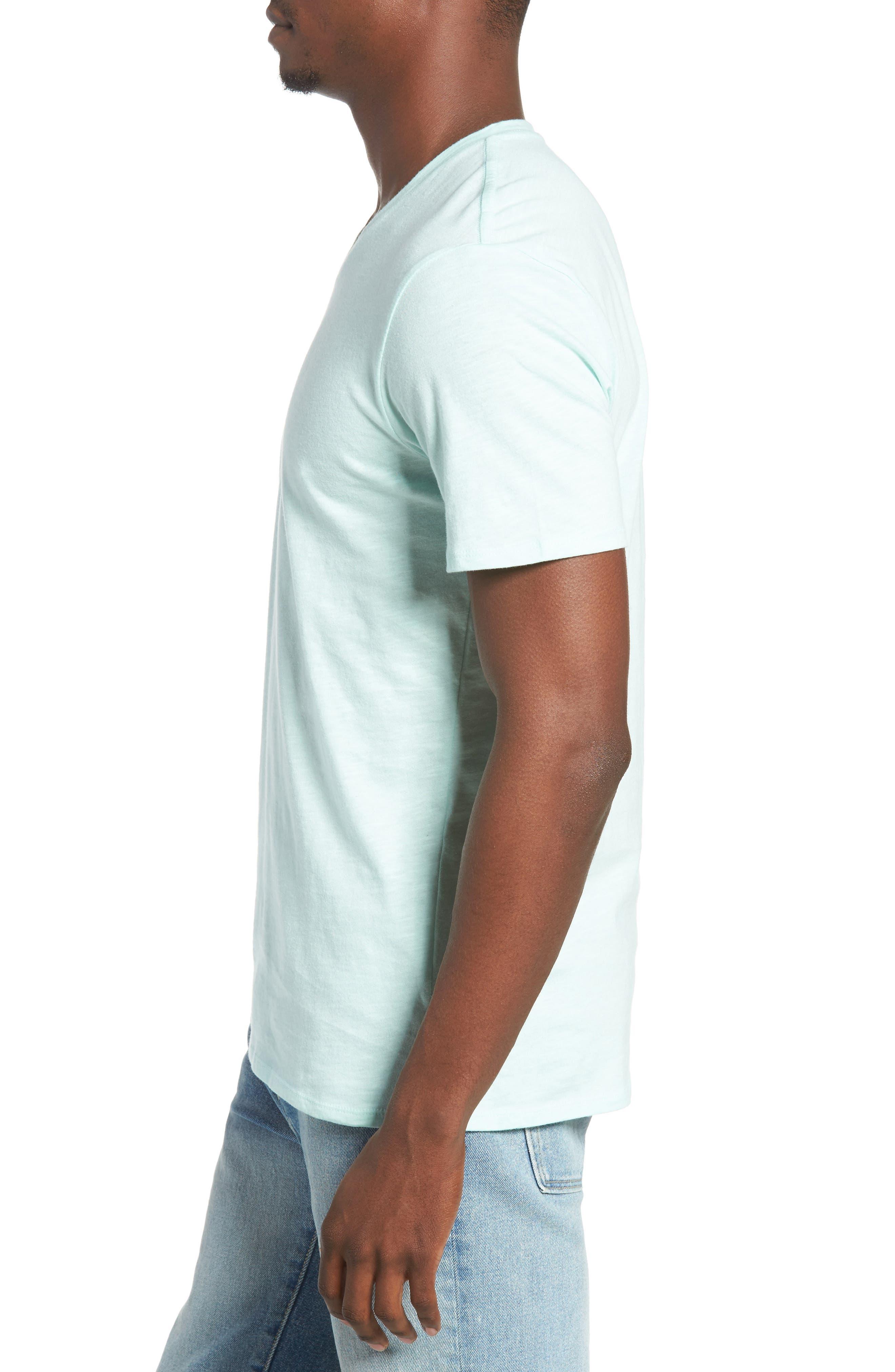 Slub Cotton V-Neck T-Shirt,                             Alternate thumbnail 3, color,                             Olive Grove