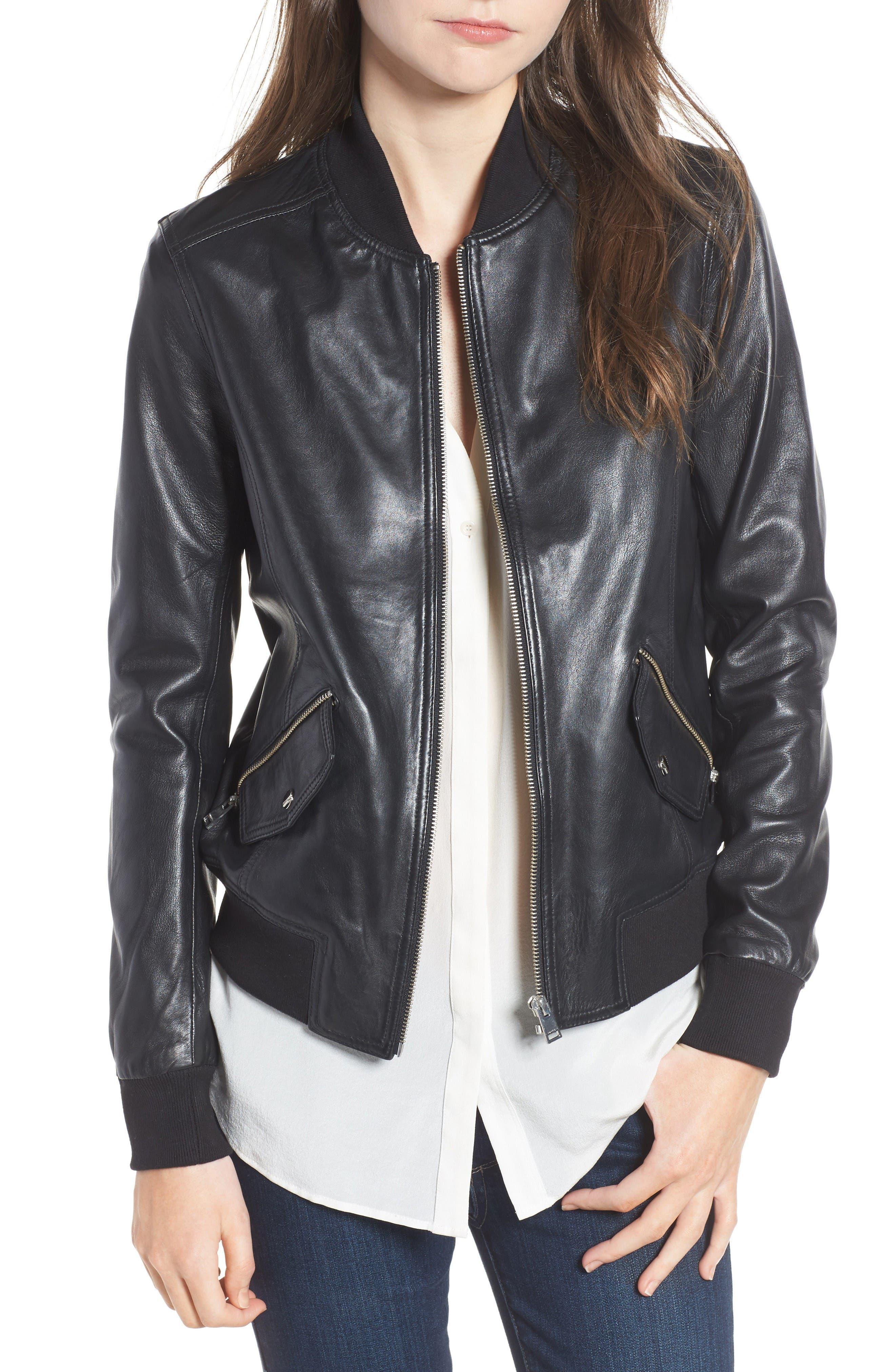 LAMARQUE Lambskin Leather Bomber Jacket