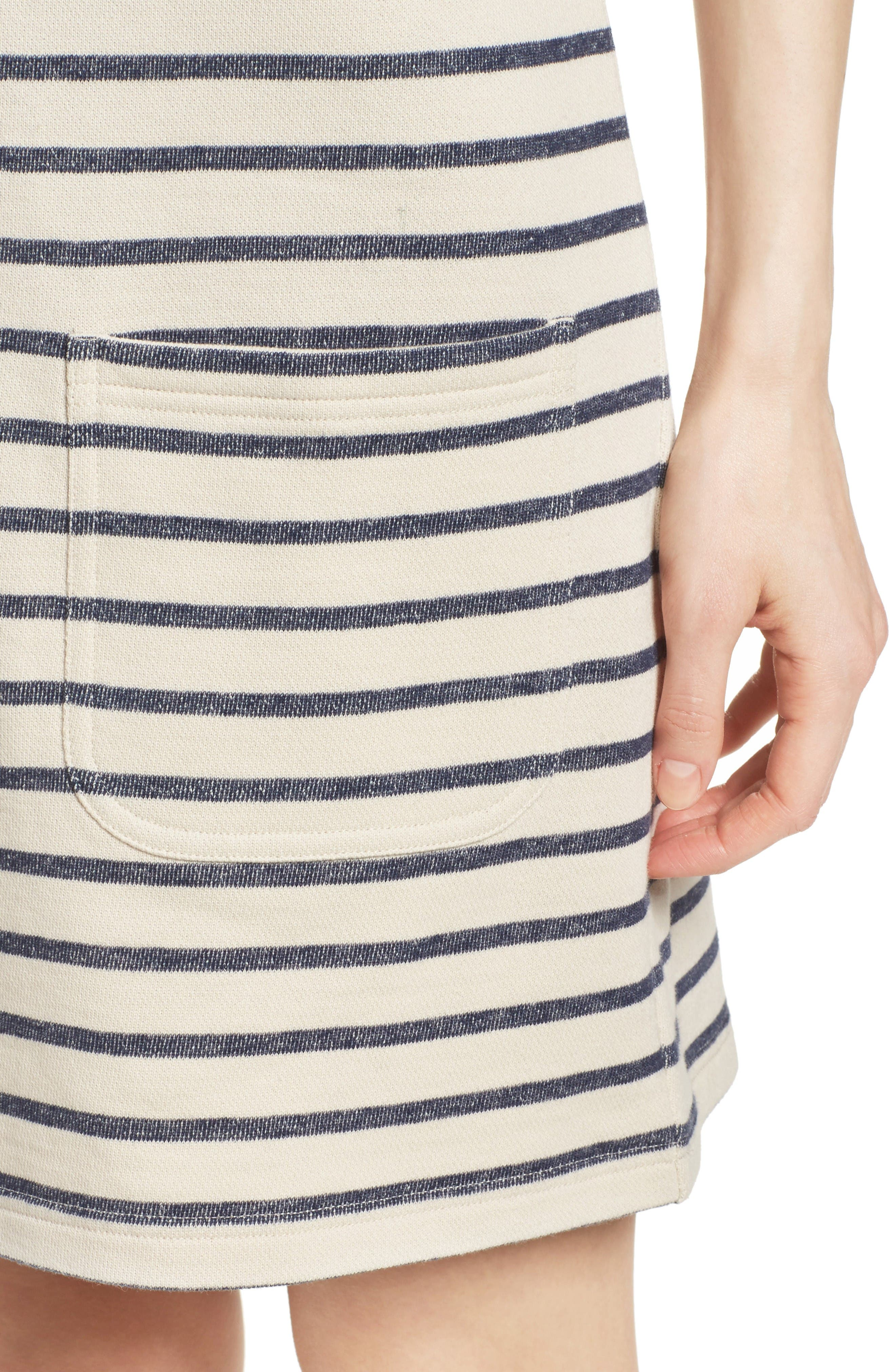 Normandy Stripe Dress,                             Alternate thumbnail 5, color,                             Brule/ Indigo