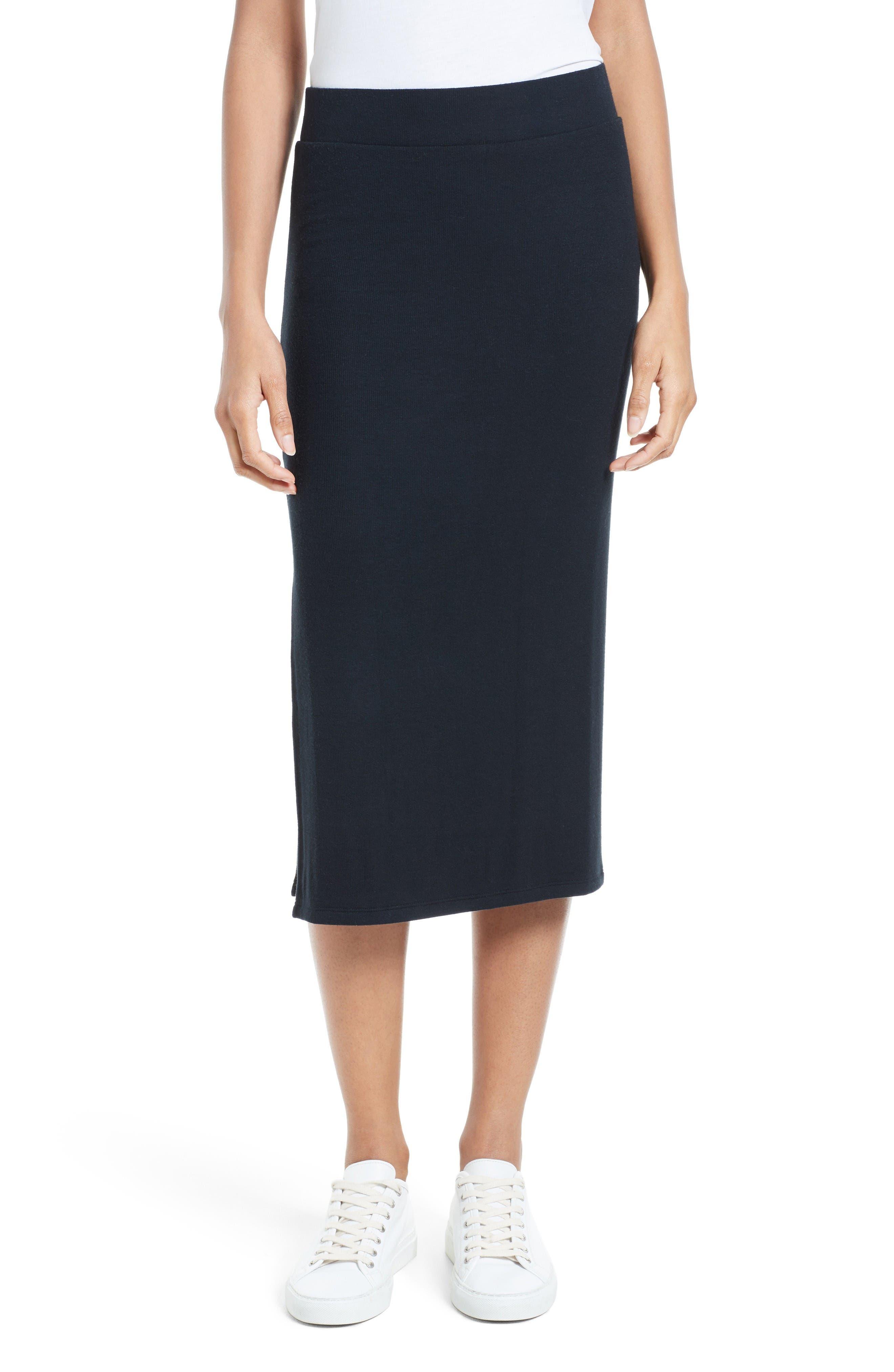 Side Slit Tube Skirt,                         Main,                         color, Black