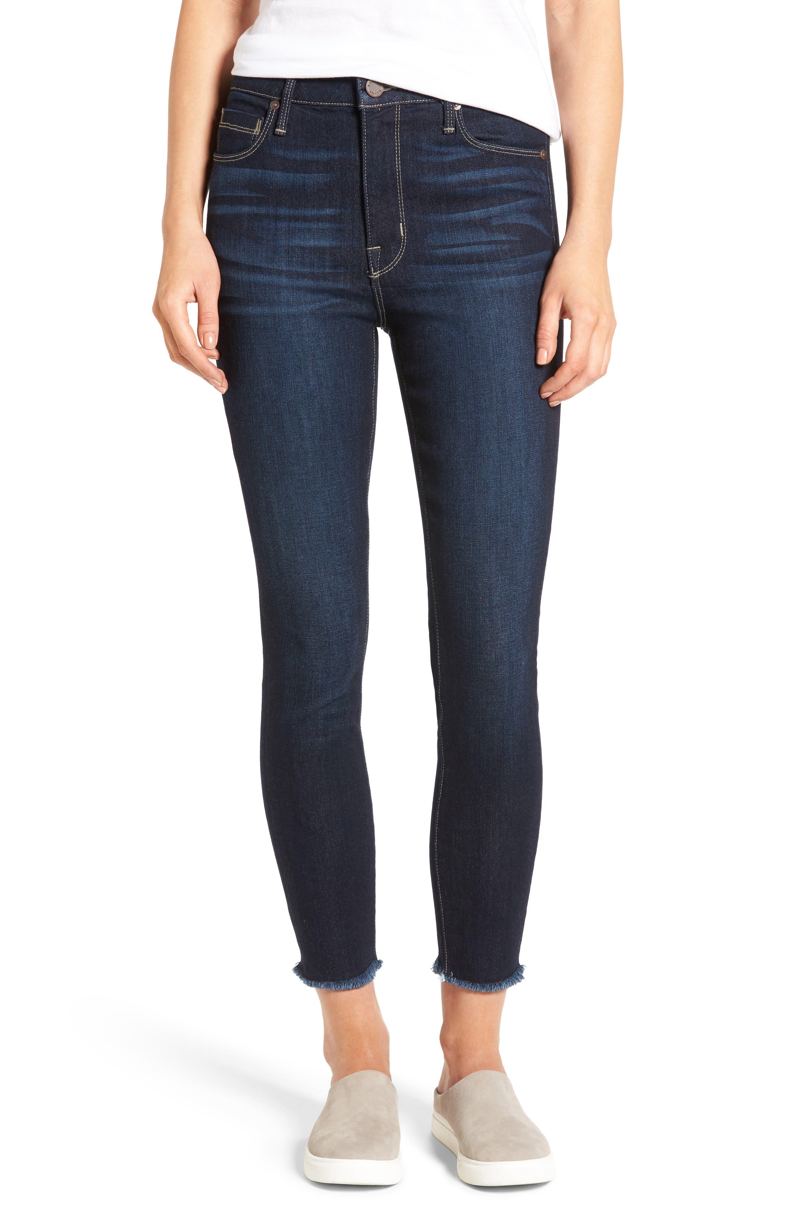 Main Image - PARKER SMITH Bombshell Raw Hem Stretch Skinny Jeans (Horizon)