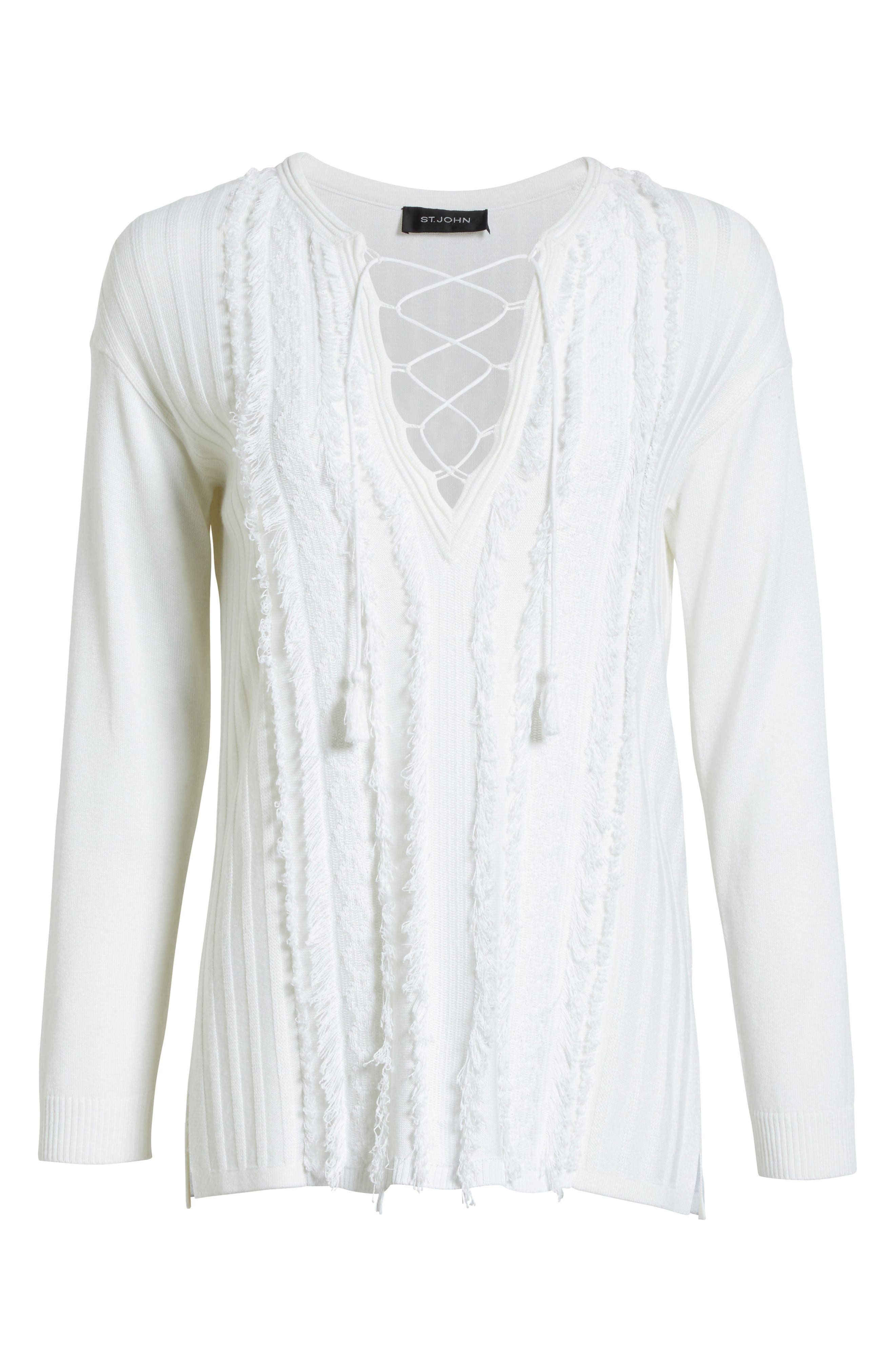Fil Coupé Lace-Up Tunic,                             Alternate thumbnail 6, color,                             Bianco