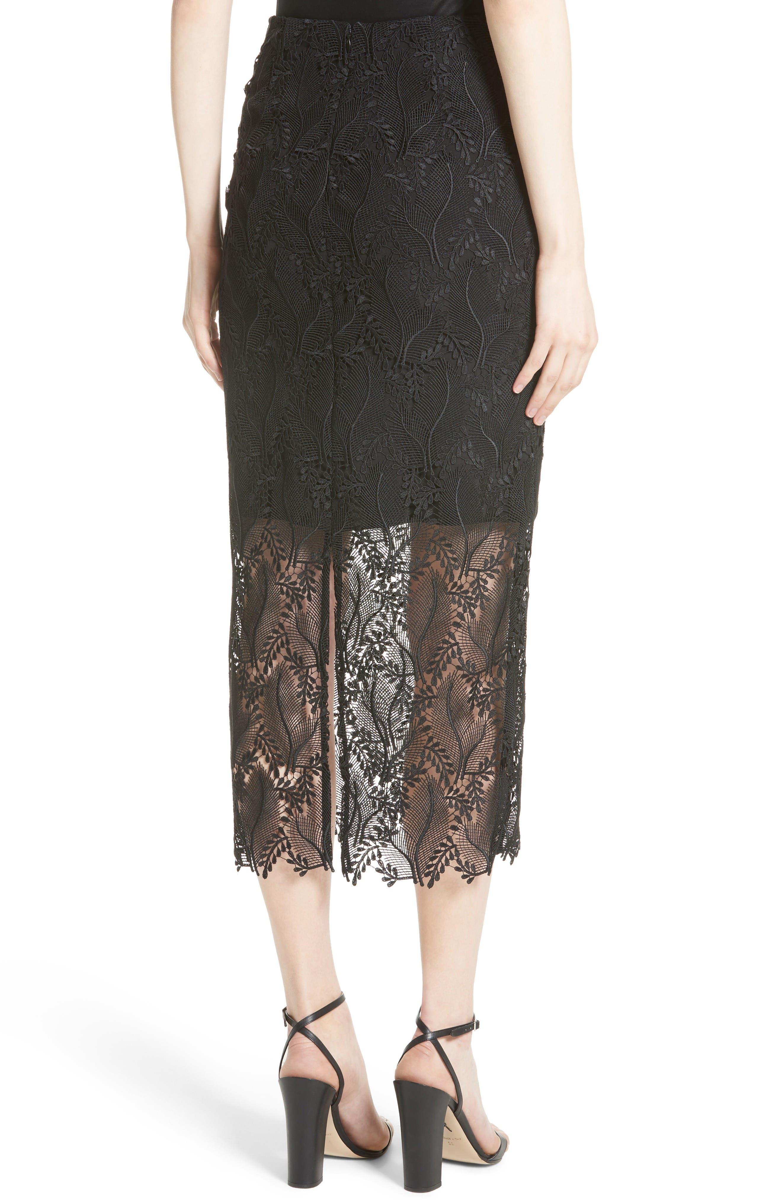 Lace Overlay Pencil Skirt,                             Alternate thumbnail 3, color,                             Black