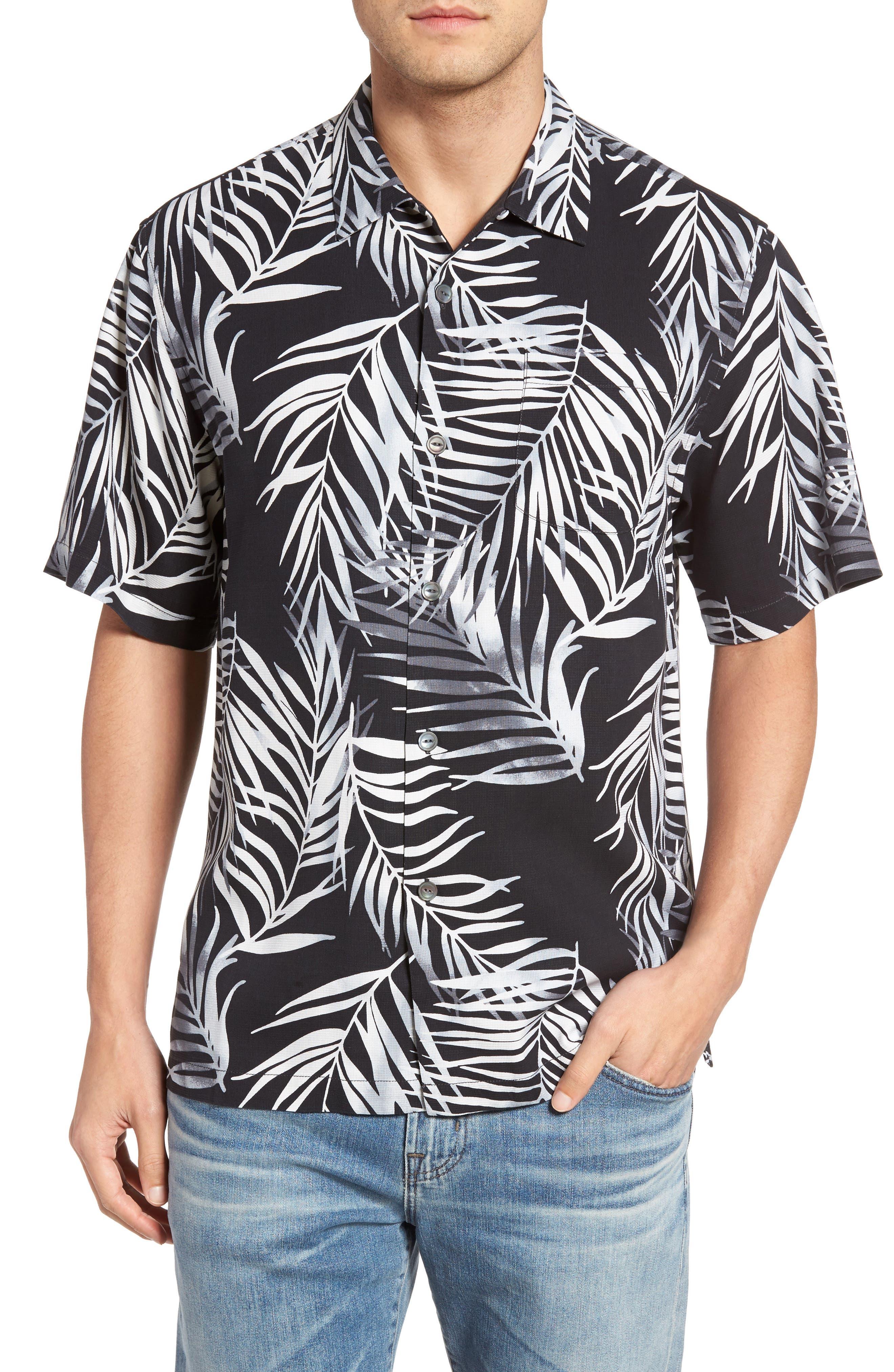Beyond Frond Silk Camp Shirt,                         Main,                         color, Jet Black