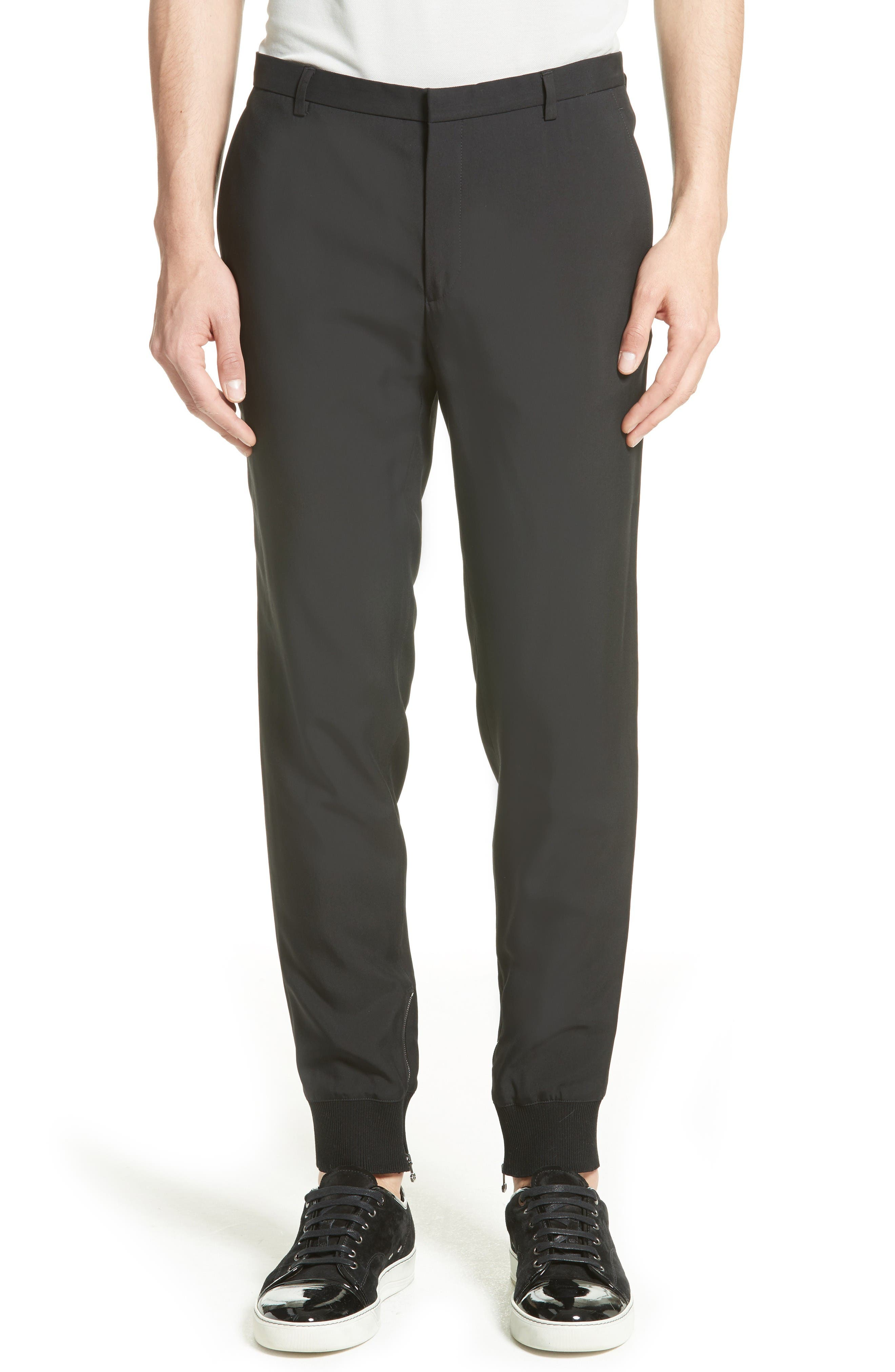 Zip Ankle Jogger Pants,                             Main thumbnail 1, color,                             Black