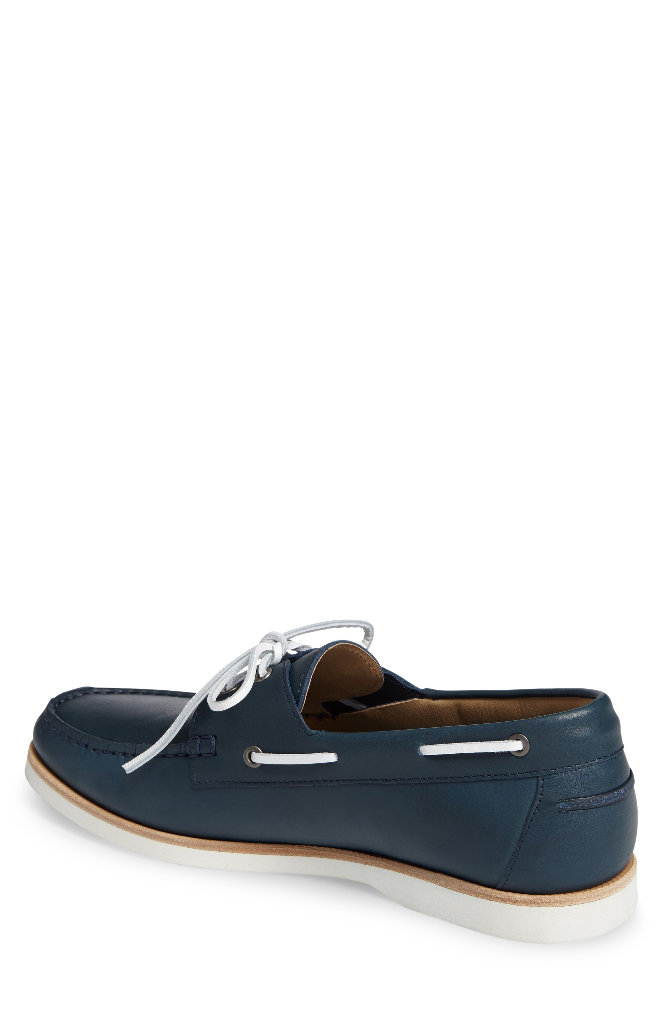 Cooper Boat Shoe,                             Alternate thumbnail 2, color,                             Navy Leather