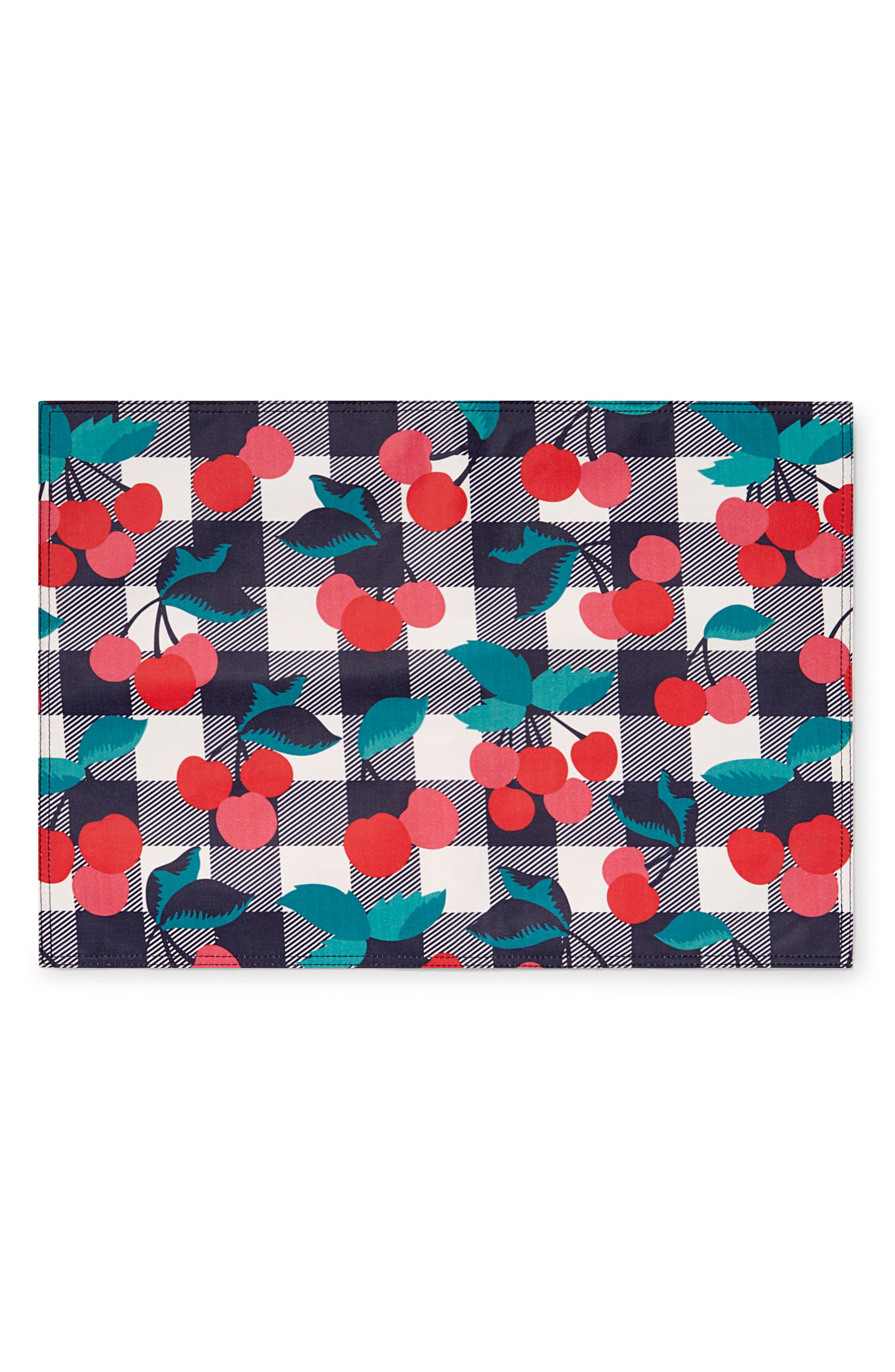 Set of 4 Cherry Print Placemats,                         Main,                         color, Cherry