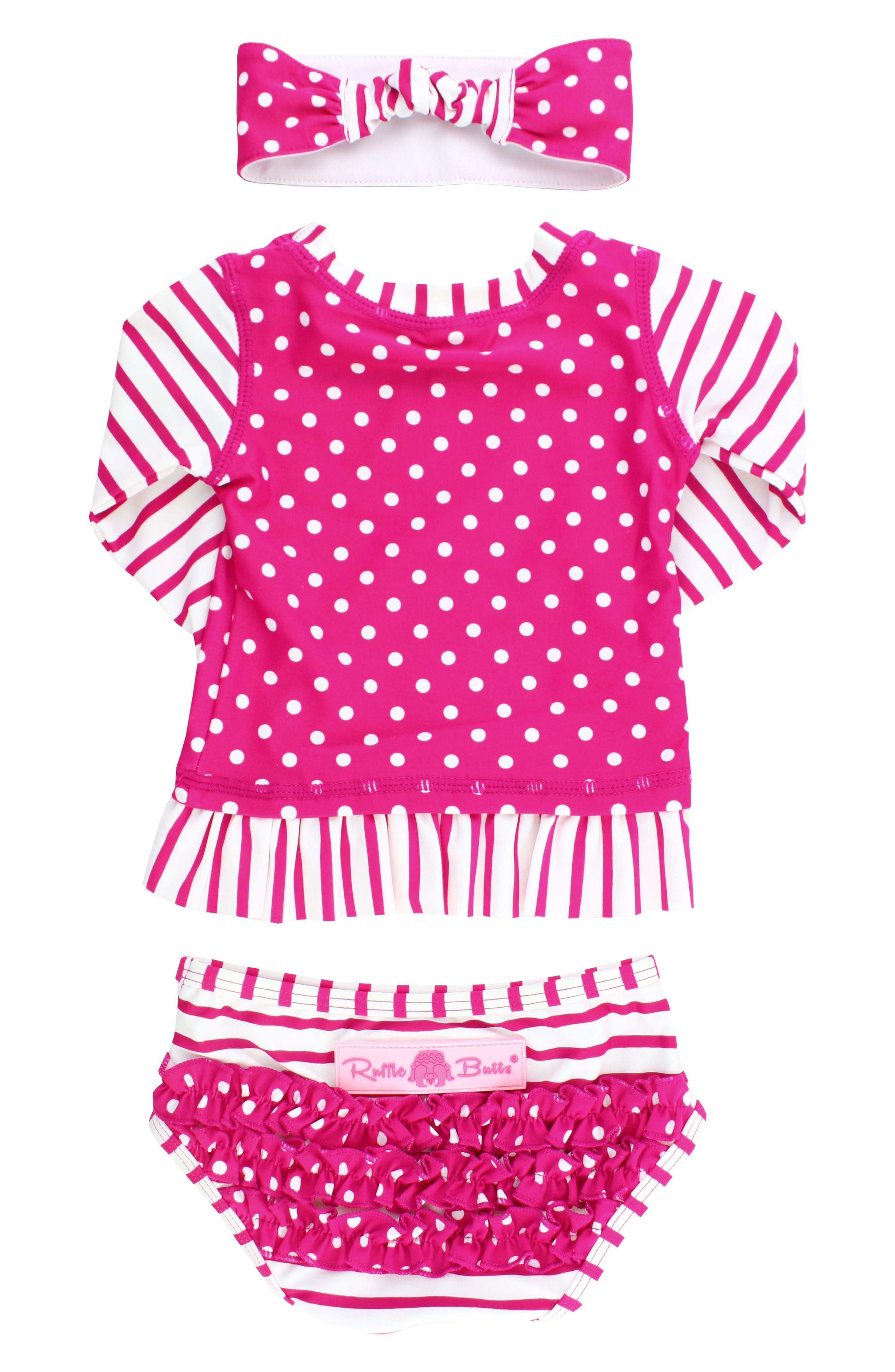 Alternate Image 3  - RuffleButts Two-Piece Rashguard Swimsuit & Head Wrap Set (Baby Girls)
