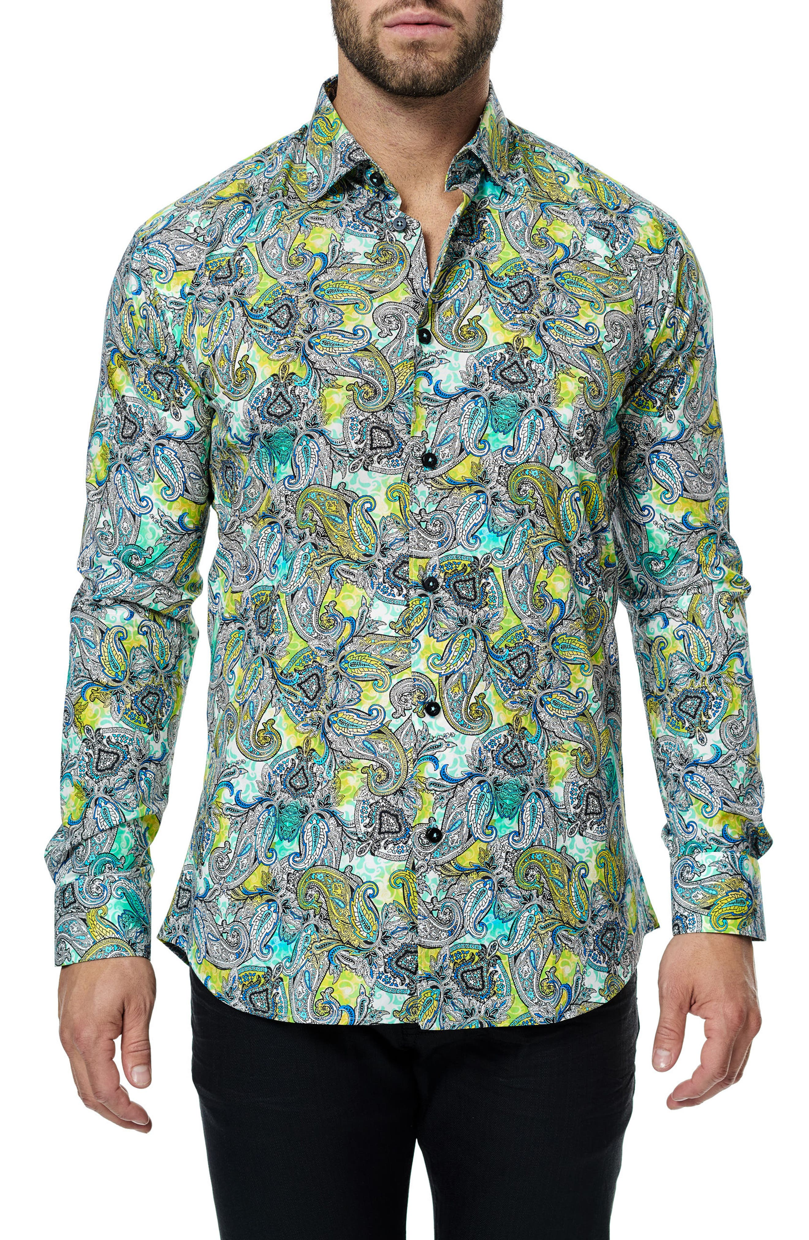Maceoo Luxor Yellow Paisley Trim Fit Sport Shirt