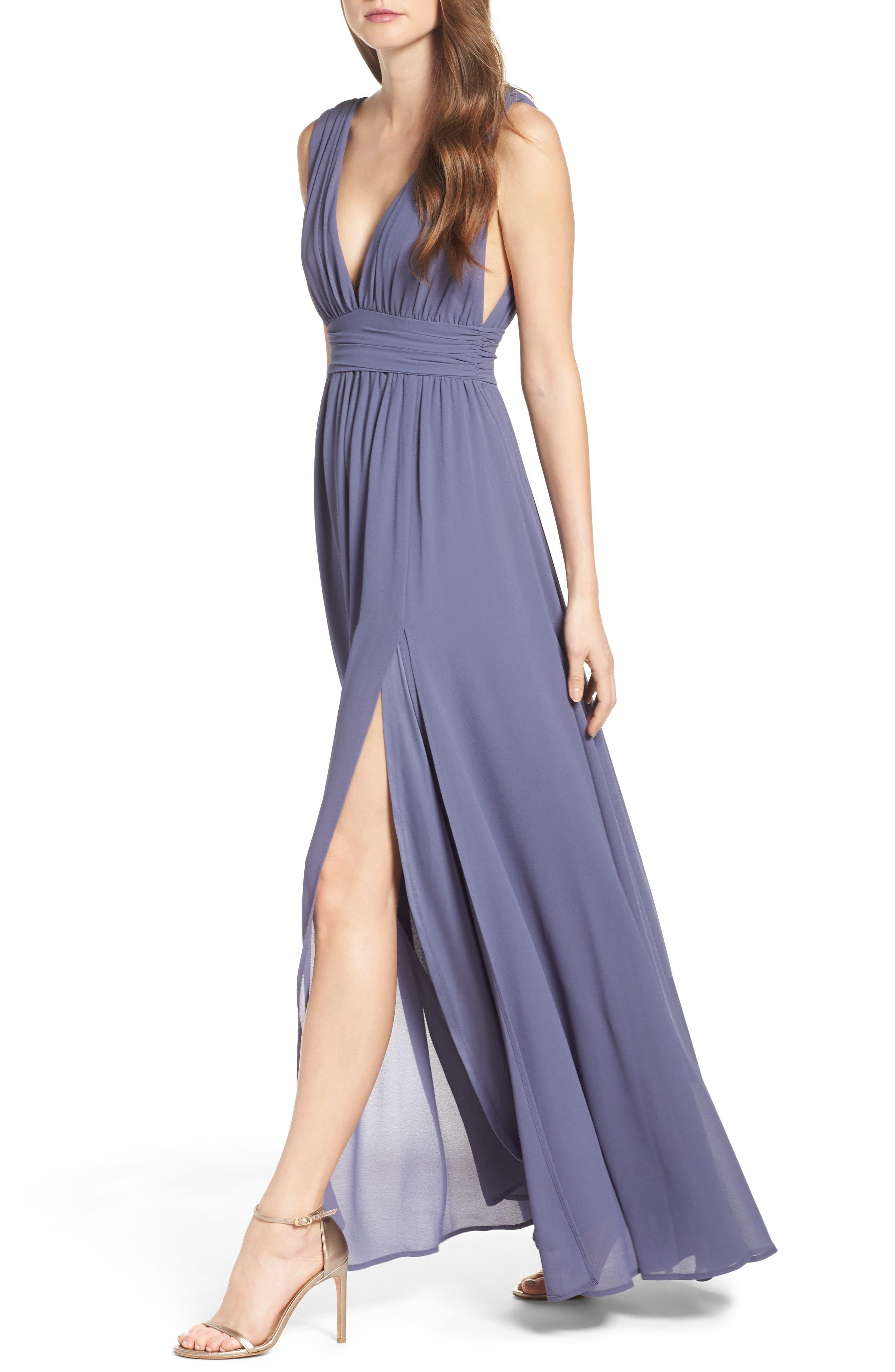 Alternate Image 4  - Lulus Plunging V-Neck Chiffon Gown