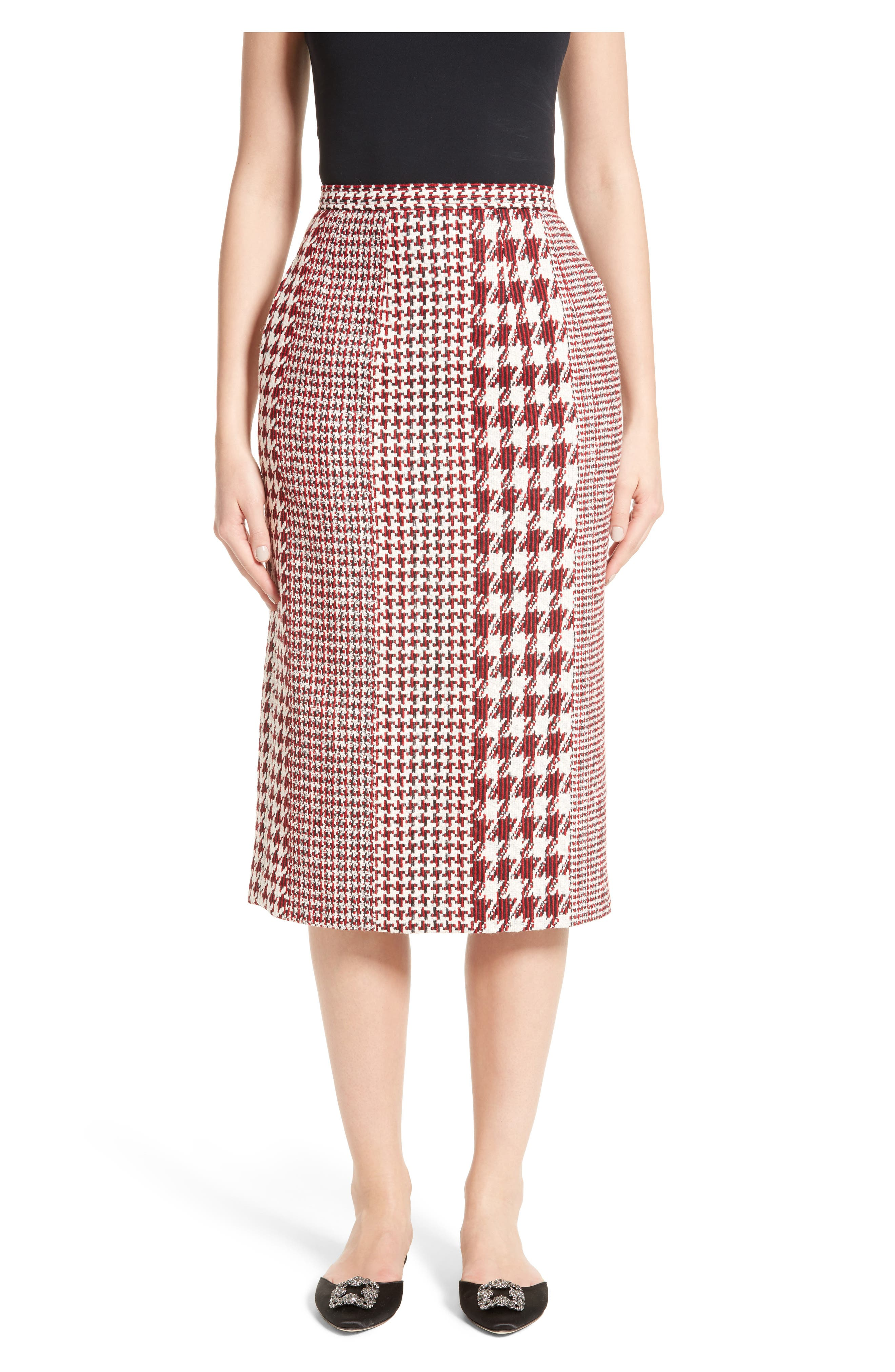 Houndstooth Pencil Skirt,                         Main,                         color, Red Multi