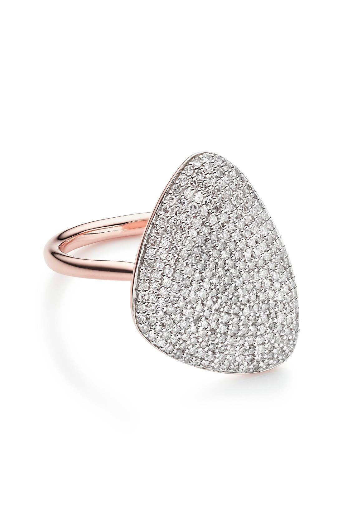 Nura Diamond Teardrop Ring,                             Main thumbnail 1, color,                             Rose Gold/ Diamond