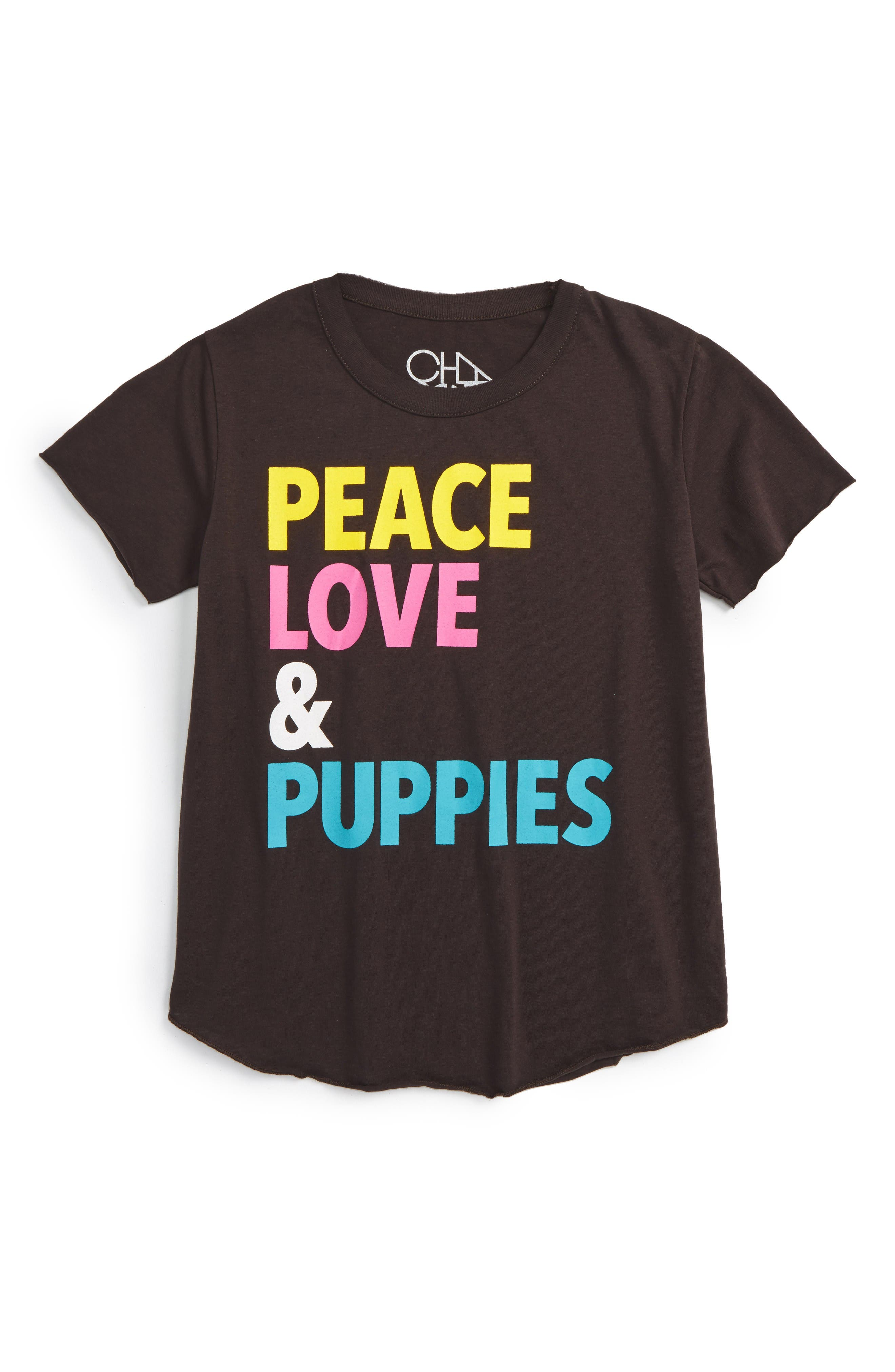 Chaser Peace, Love & Puppies Graphic Tee (Big Girls)