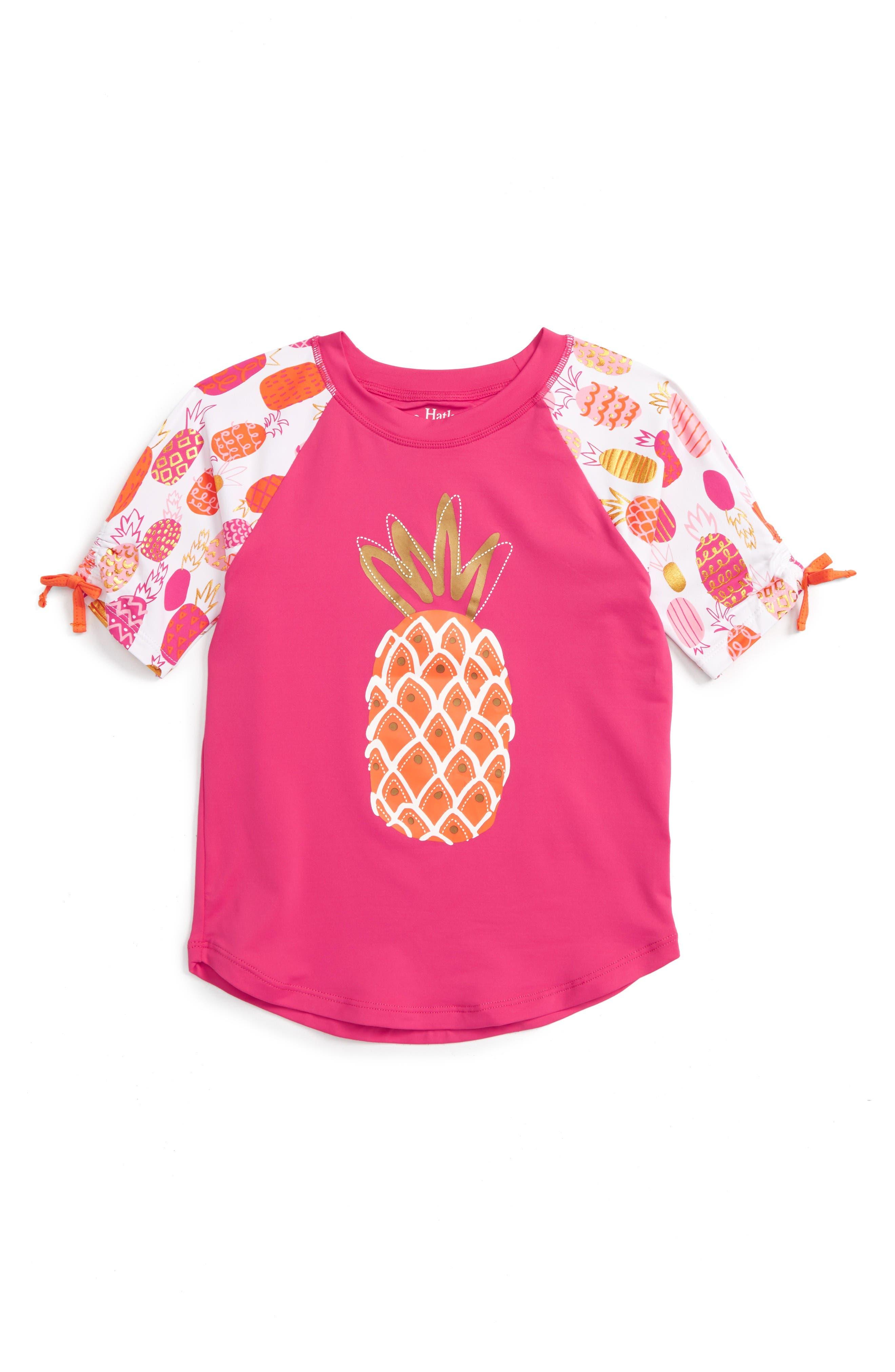 Alternate Image 1 Selected - Hatley Tropical Pineapple Rashguard (Toddler Girls, Little Girls & Big Girls)