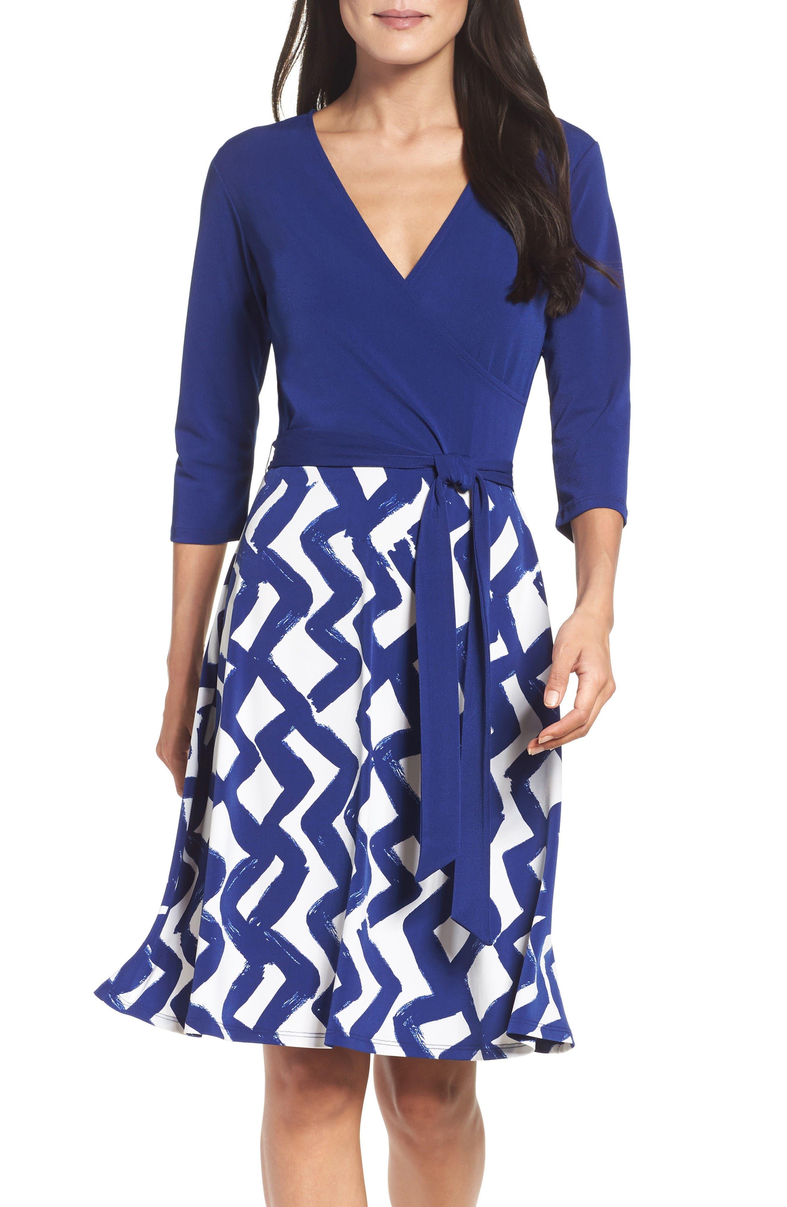 Leota Faux Wrap Matte Jersey Dress