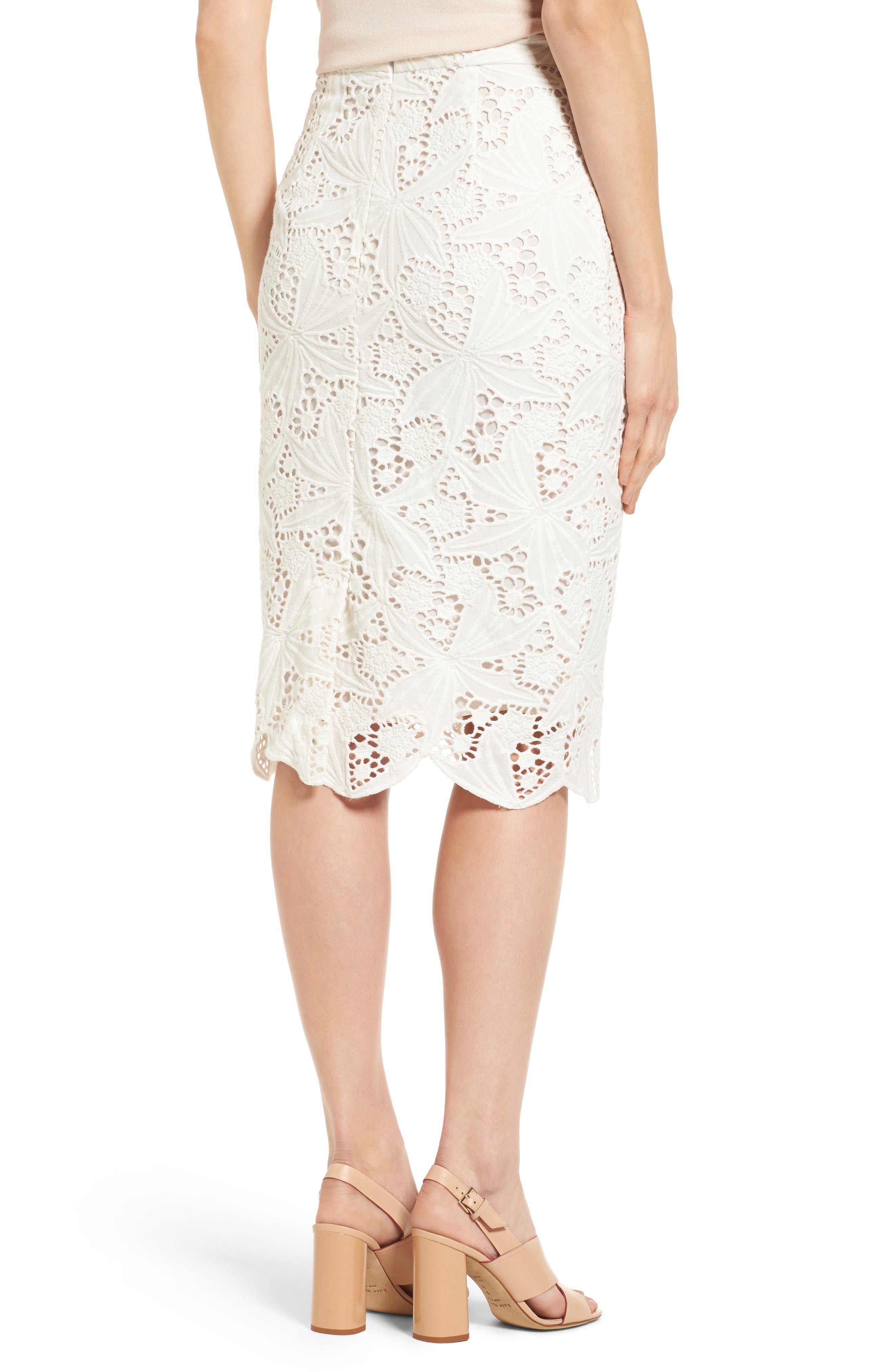 Alternate Image 3  - Halogen® Scalloped Lace Pencil Skirt (Regular & Petite)