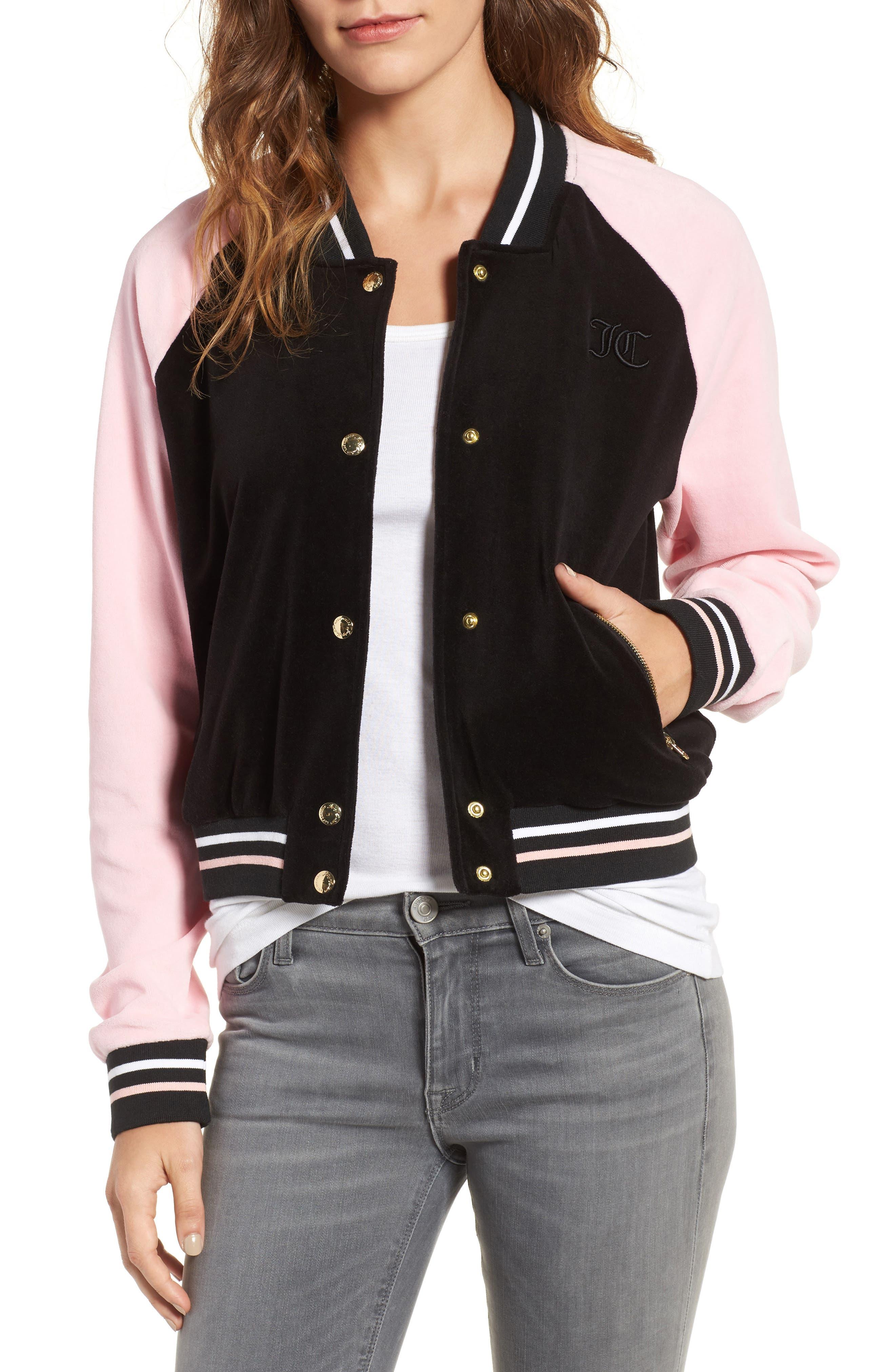 Colorblock Velour Track Jacket,                         Main,                         color, Pitch Black/ Riot Blush