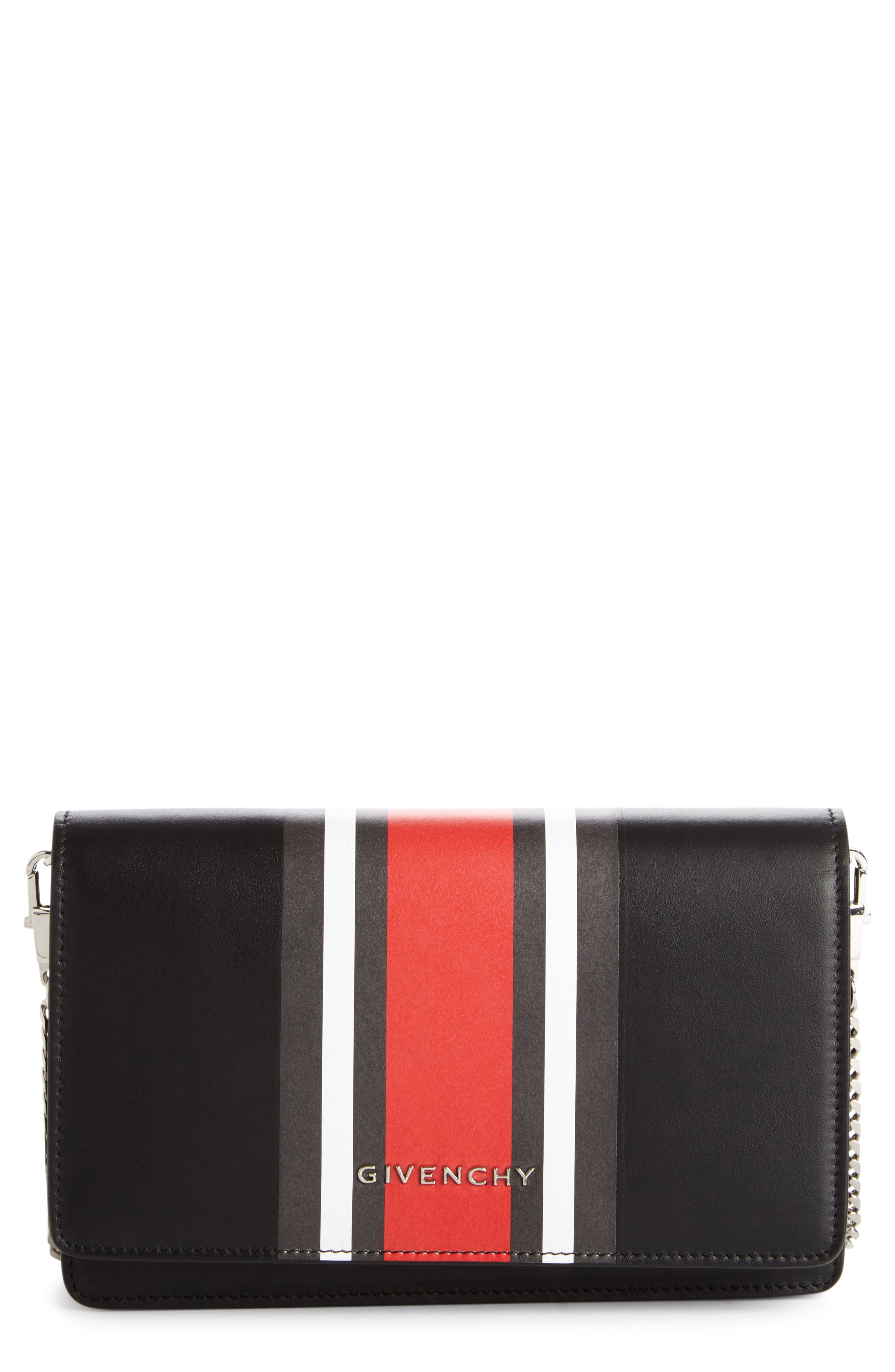 GIVENCHY Pandora Calfskin Leather Wallet on a Chain