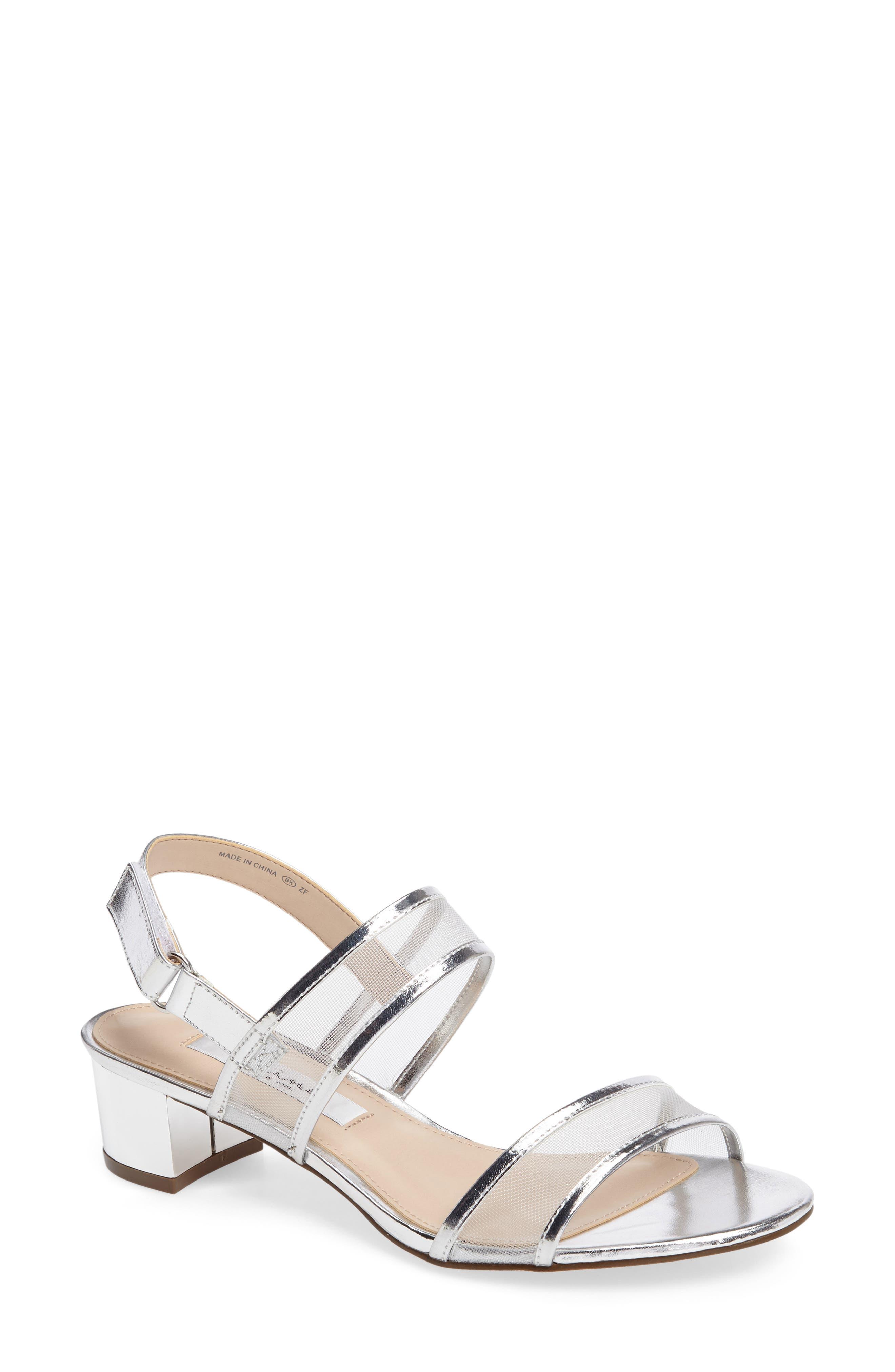 Ganice Mesh Strap Sandal,                         Main,                         color, Silver Faux Leather