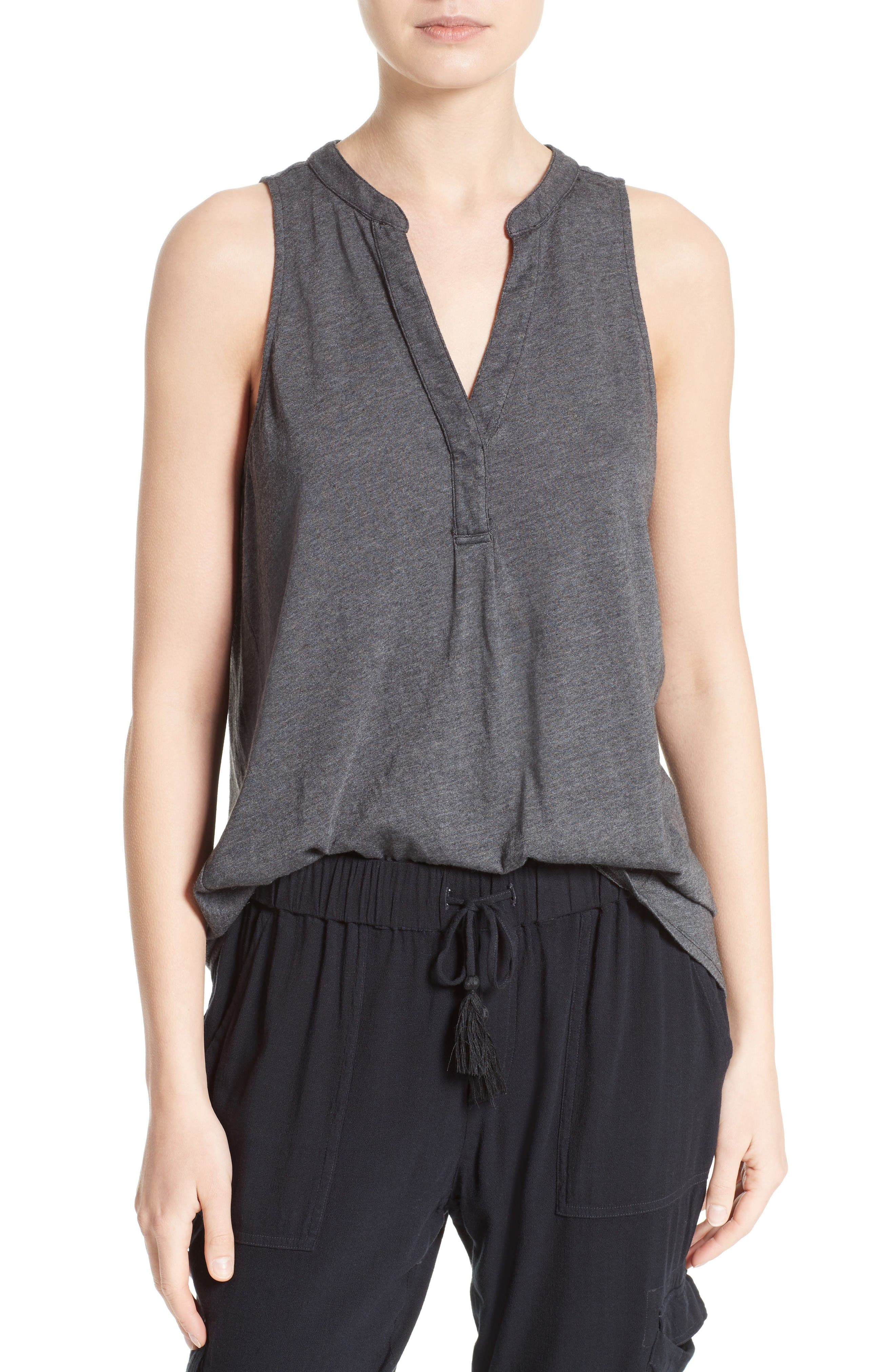Carley Split Neck Top,                         Main,                         color, Heather Charcoal